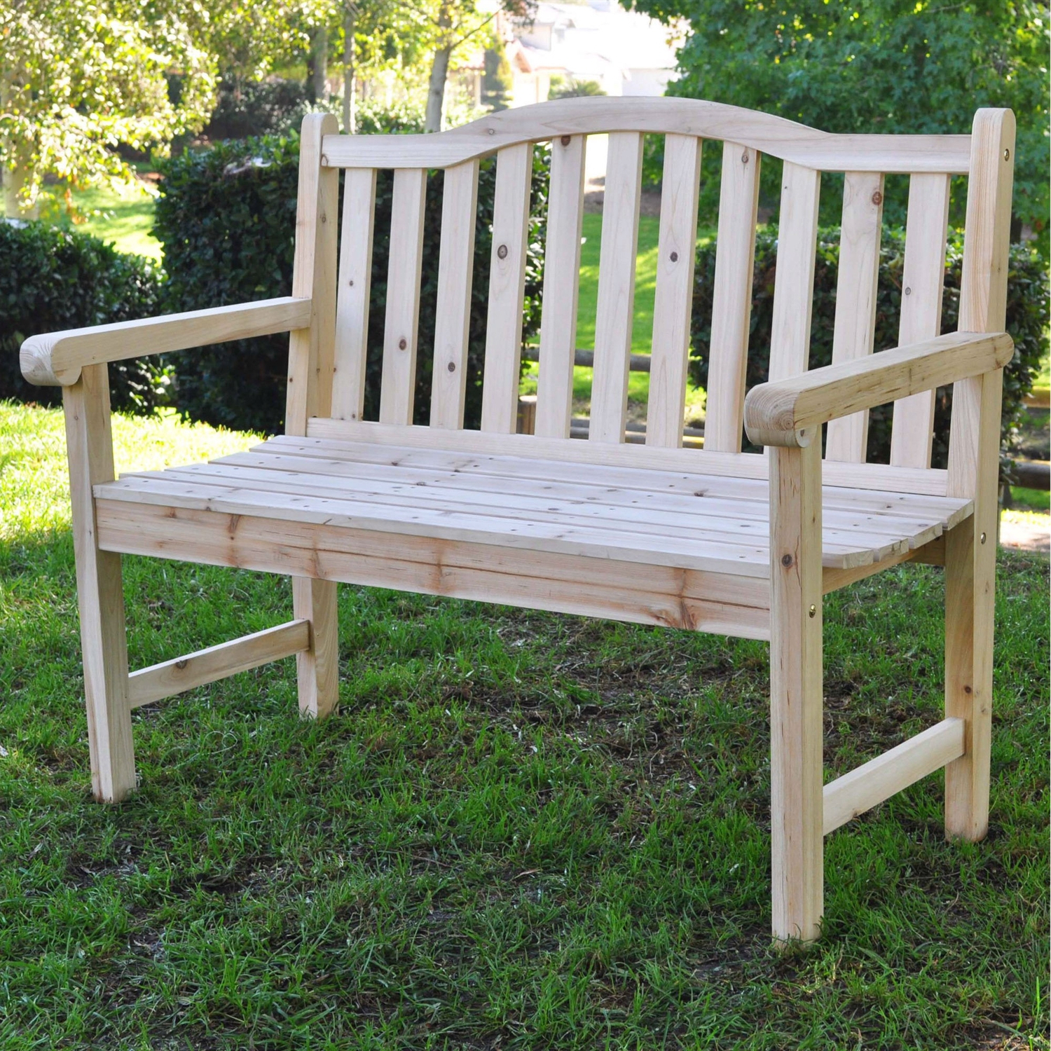 Newest Outdoor Cedar Wood Garden Bench In Natural With 475Lbs (View 16 of 30)