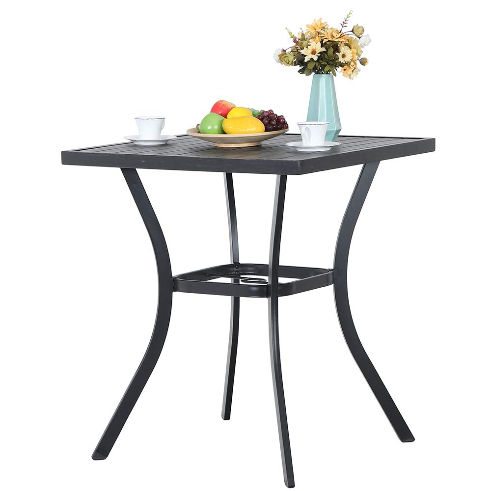 "Newest Patio Square Bar Dining Tables Inside Amazon: Phi Villa 31"" Metal Patio Height Bar Table (View 6 of 30)"