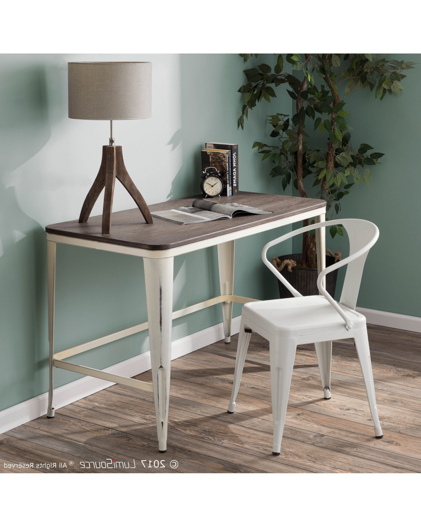 Newest Pia Industrial Desk – Pia Industrial Desk In Vintage Cream In Vintage Cream Frame And Espresso Bamboo Dining Tables (Gallery 19 of 30)