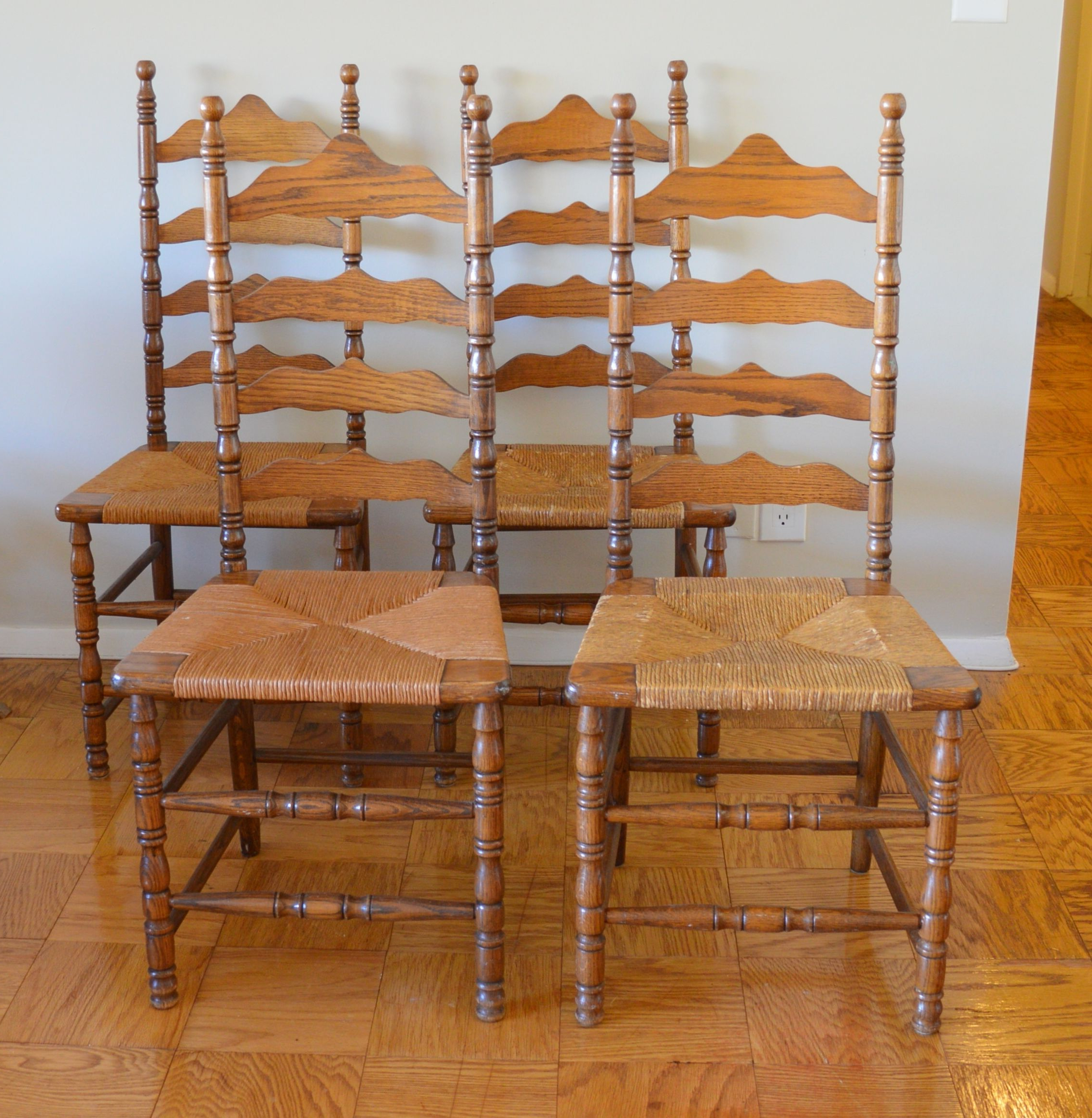 Newest Picked Up These 4 Vintage Ladder Back Chairsthe Boling Intended For Alamo Transitional 4 Seating Double Drop Leaf Round Casual Dining Tables (View 19 of 19)