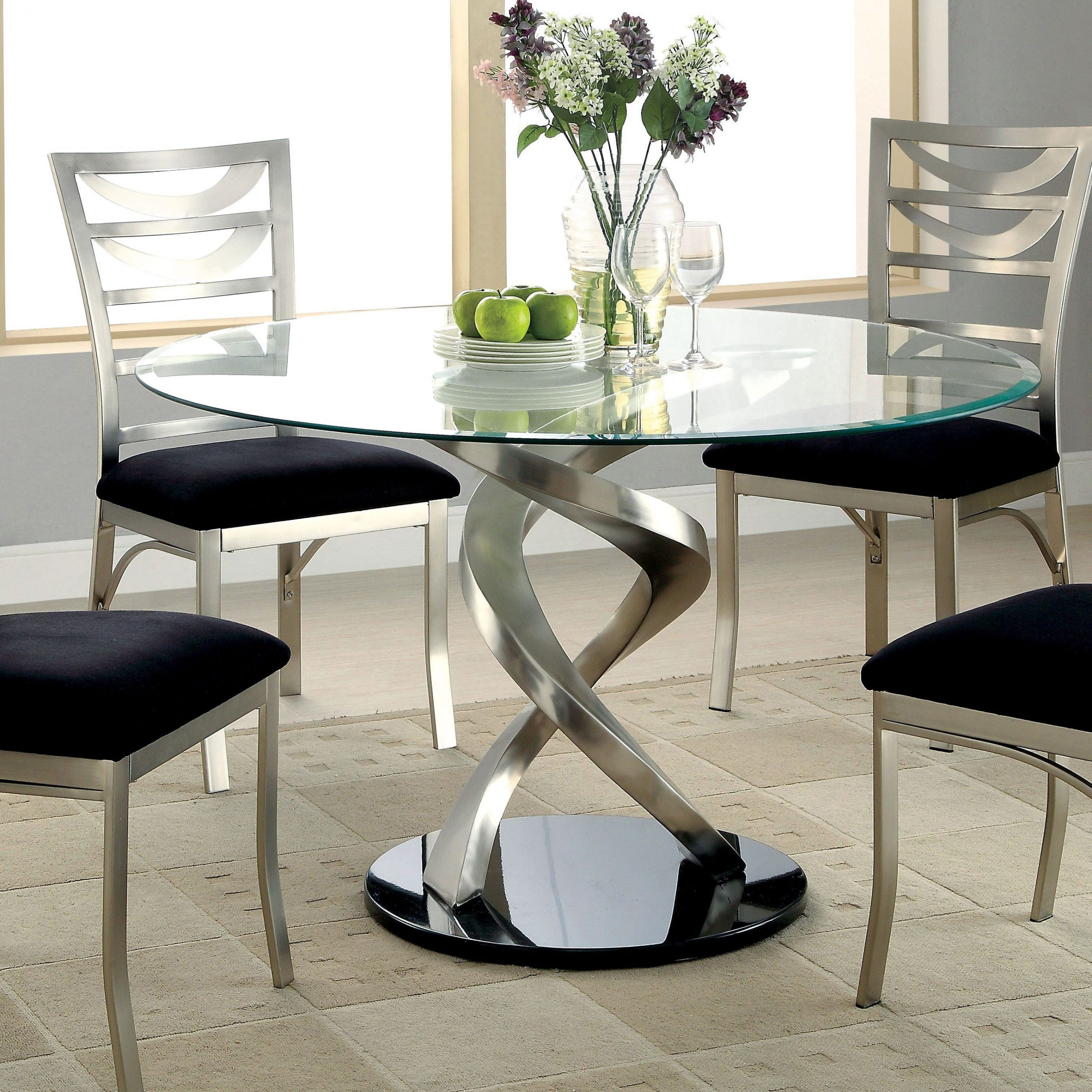 Newest Round Dining Tables With Glass Top Intended For Furniture Of America Sculpture I Contemporary Glass Top (Gallery 2 of 30)