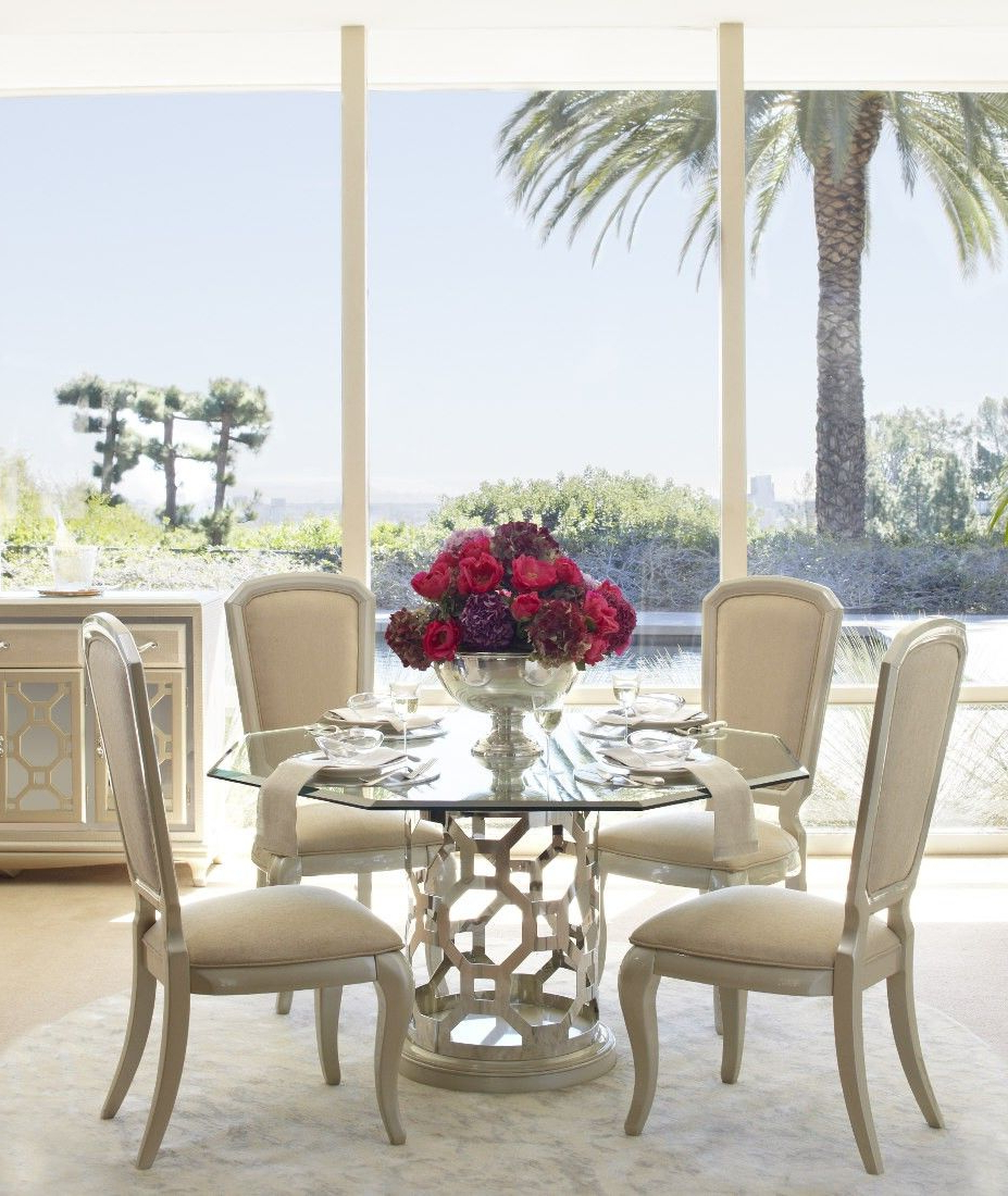 Newest Round Glass Top Dining Tables Within Aico After Eight Pearl Round Shaped Glass Top Dining Table (View 12 of 30)