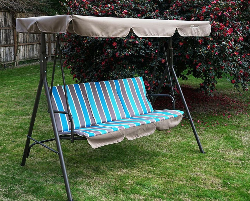 Newest Swing With Stand Adjustable Canopy Porch Patio 3 Seater In Wicker Glider Outdoor Porch Swings With Stand (View 18 of 30)