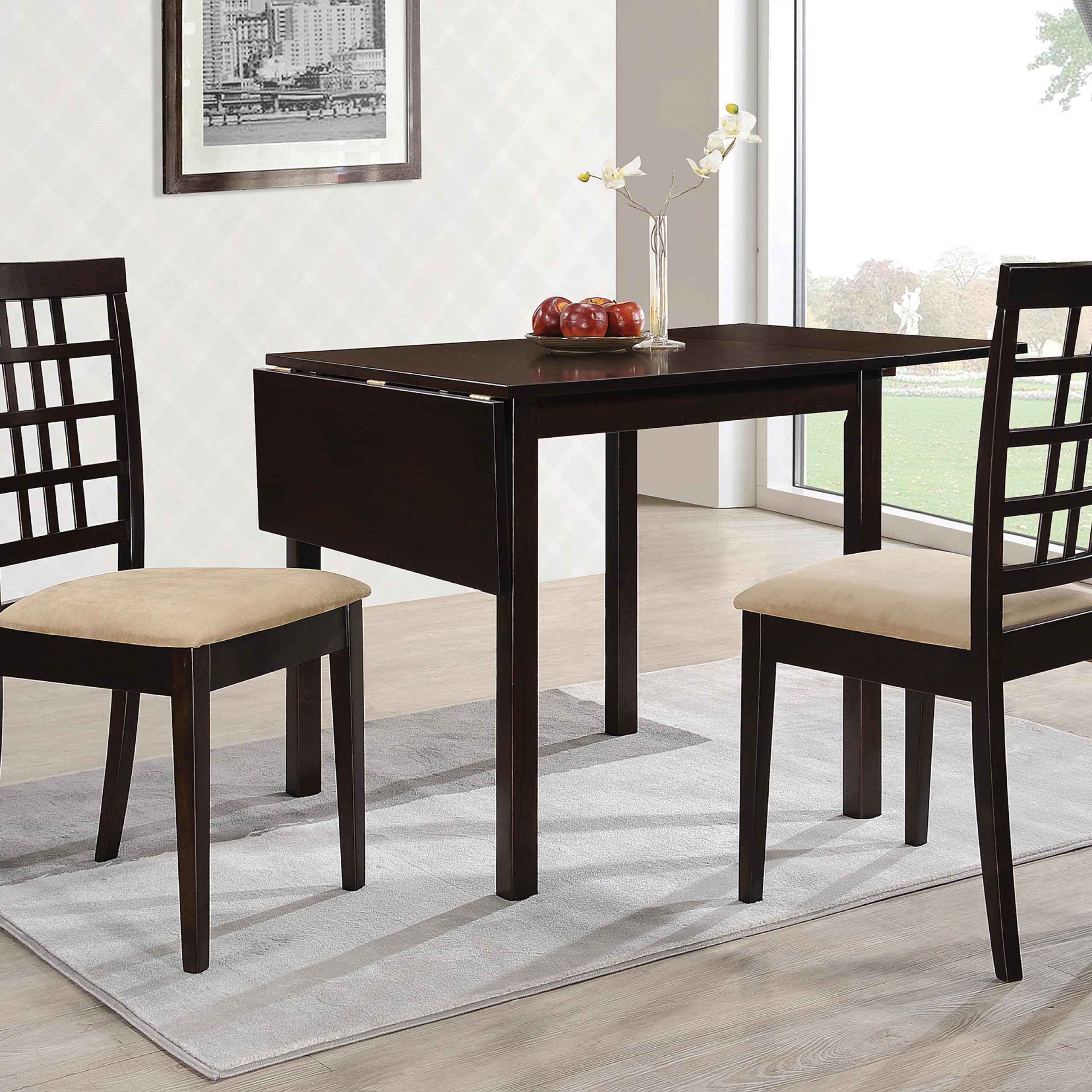 Newest Transitional Drop Leaf Casual Dining Tables For Kelso Rectangular Dining Table With Drop Leaf Cappuccino (View 18 of 30)