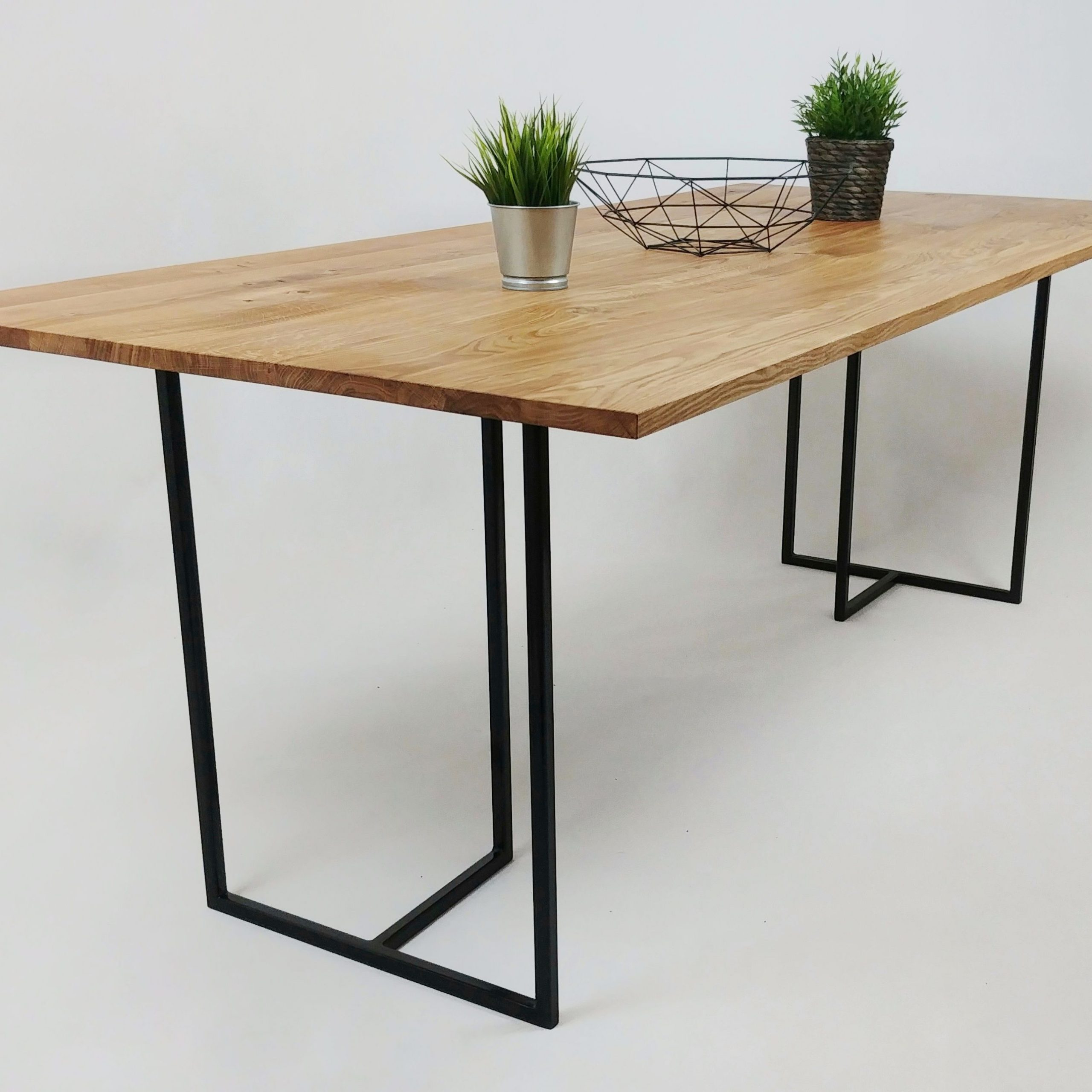 Newest Wood Top Dining Tables With Thin Oak Wood Top Dining Table With Black Steel Frame (Gallery 28 of 30)