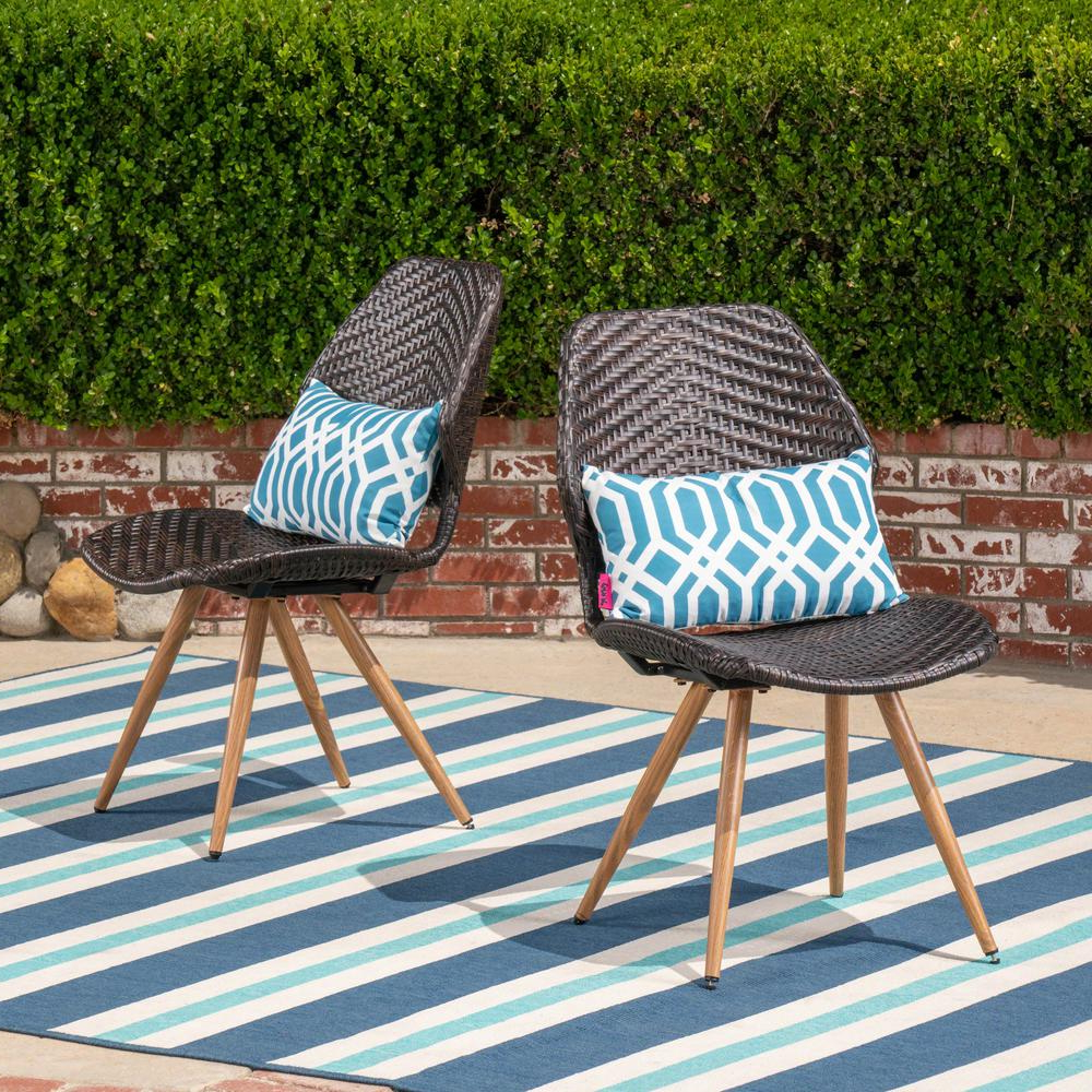 Noble House Bianca Stationary Wicker Outdoor Dining Chair (2 With Most Recent Outdoor Wicker Plastic Half Moon Leaf Shape Porch Swings (View 13 of 30)