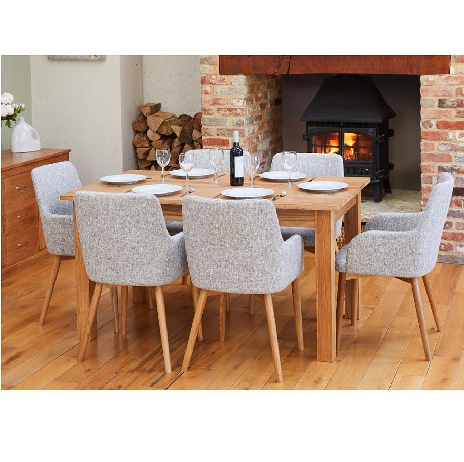 Oak Medium Dining Table With 6 Light Grey Oak Chairs Regarding Trendy Medium Dining Tables (View 14 of 30)