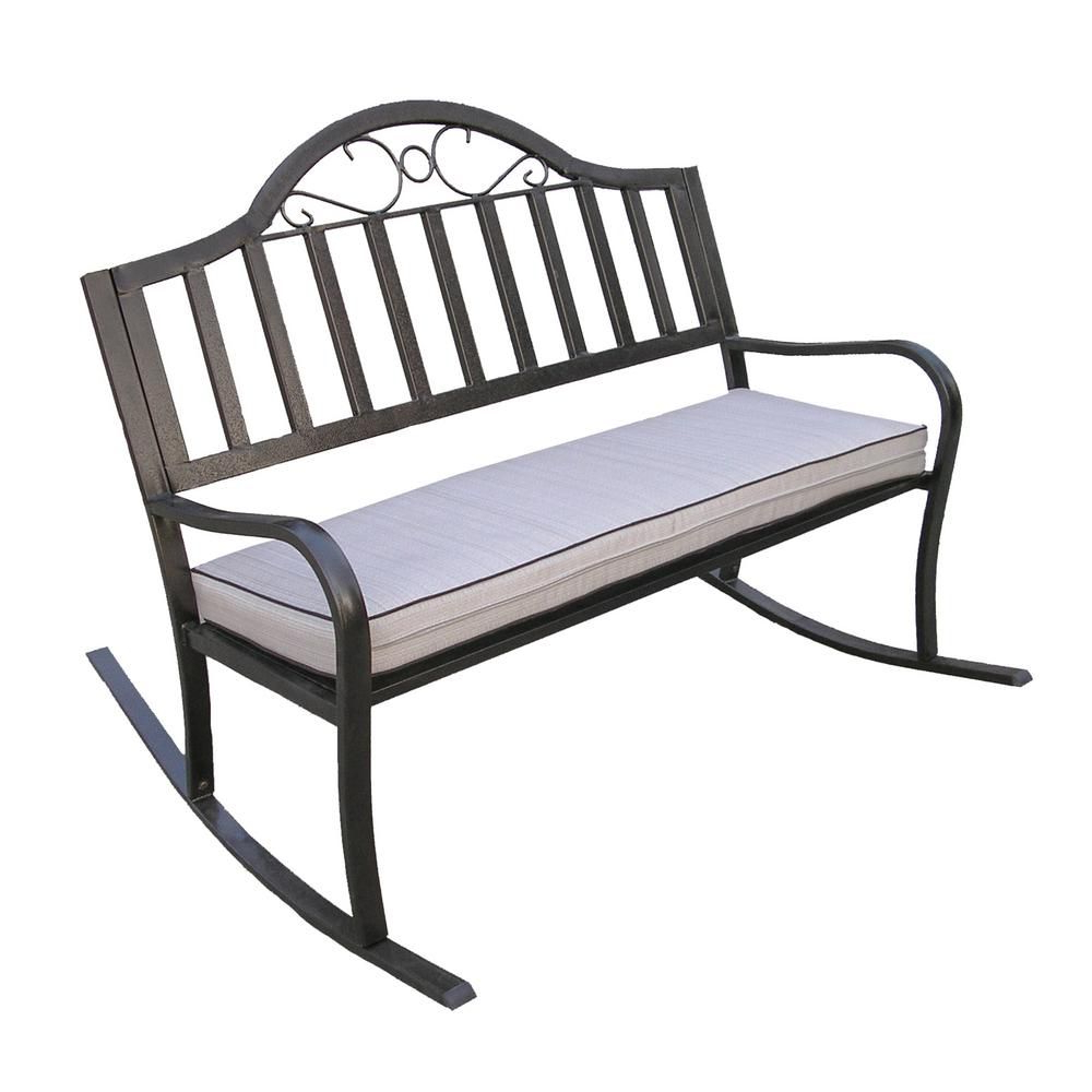 Oakland Living Rochester Metal Outdoor Rocking Chair With In Trendy Rocking Benches With Cushions (Gallery 4 of 30)