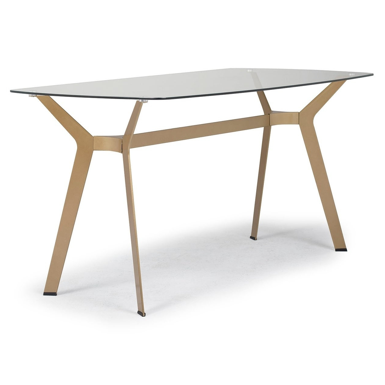 "Offex Home Archtech 60"" Modern Dining Table/desk In Gold/clear Glass With Current Modern Gold Dining Tables With Clear Glass (Gallery 13 of 30)"