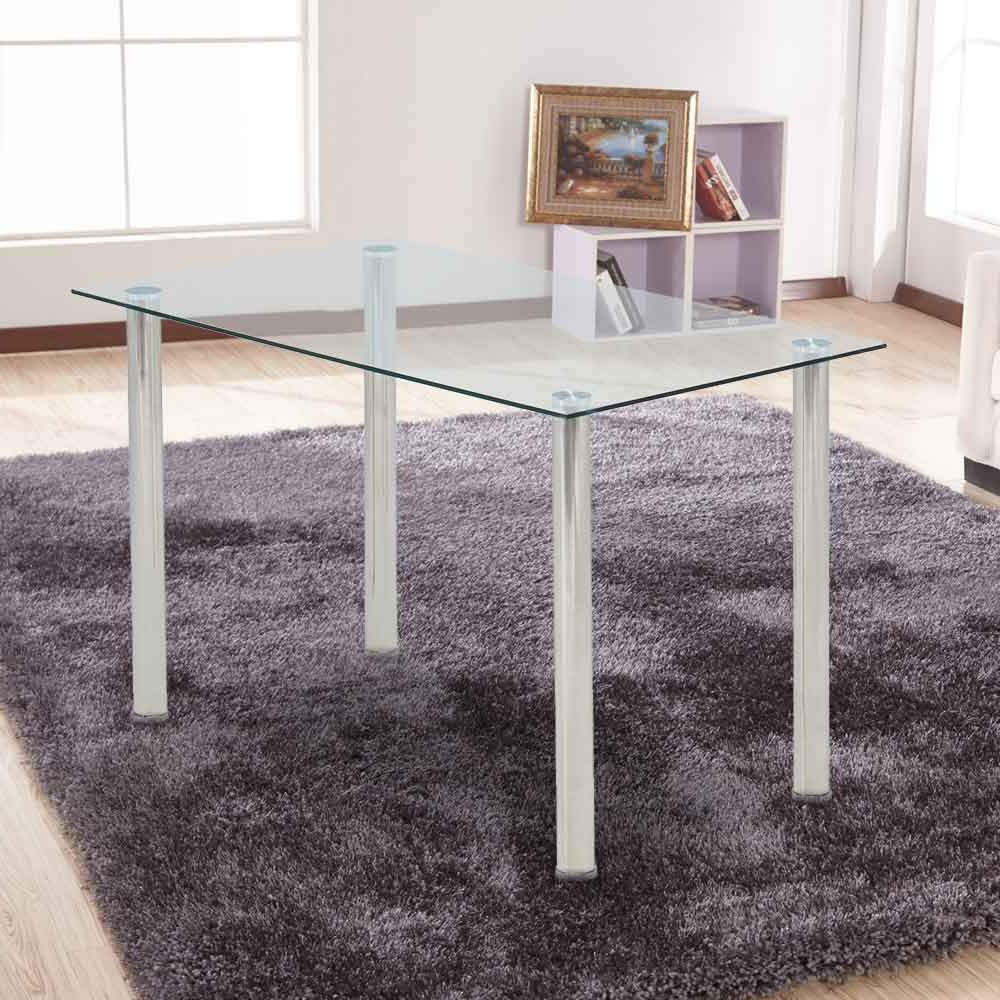 Ohana White Modern Tempered Glass Dining Table Set Rectangular Transparent Kitchen Tables Metal Legs Pertaining To Widely Used Glass Dining Tables With Metal Legs (View 20 of 30)