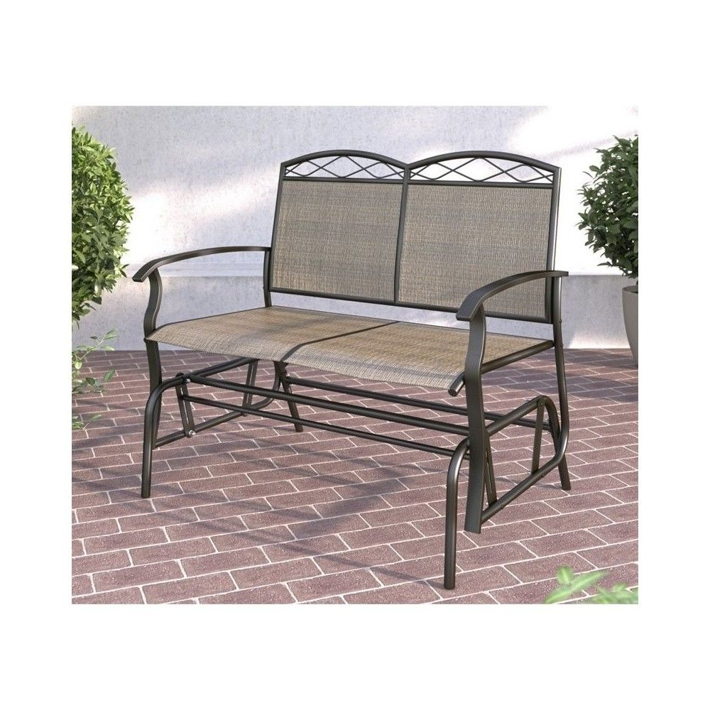 Onax Patio Double Glider In Brown – Corliving (View 26 of 30)