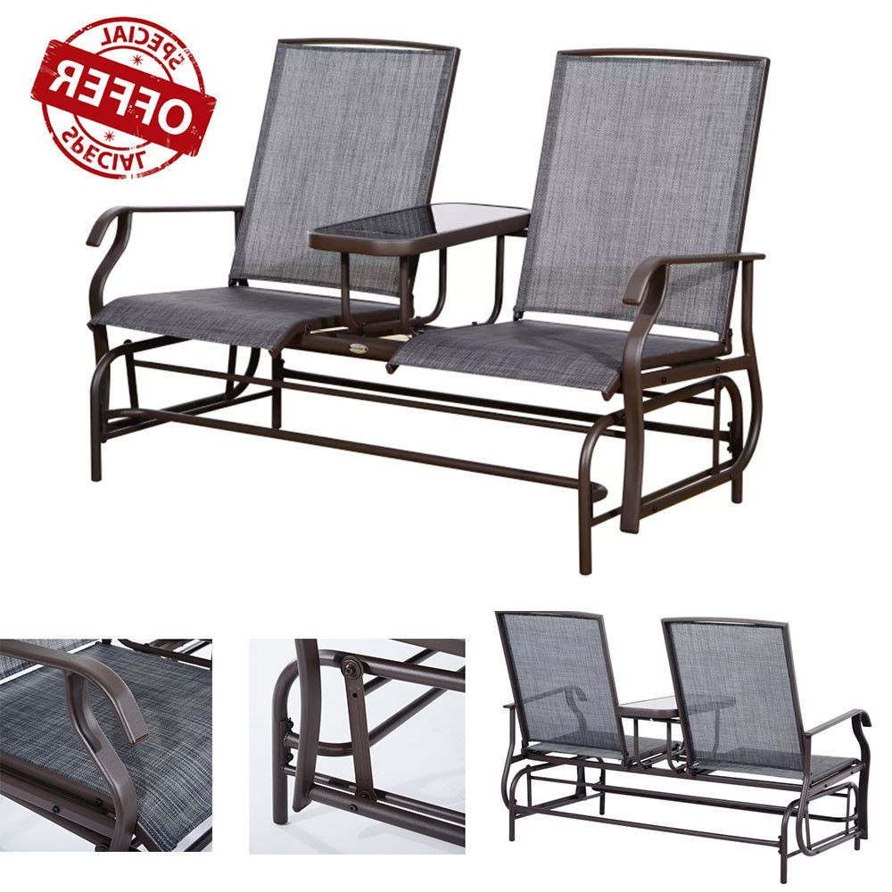 Outdoor Fabric Glider Benches Intended For Newest Two Person Outdoor Arm Chair Double Bench With Center Table (View 7 of 30)