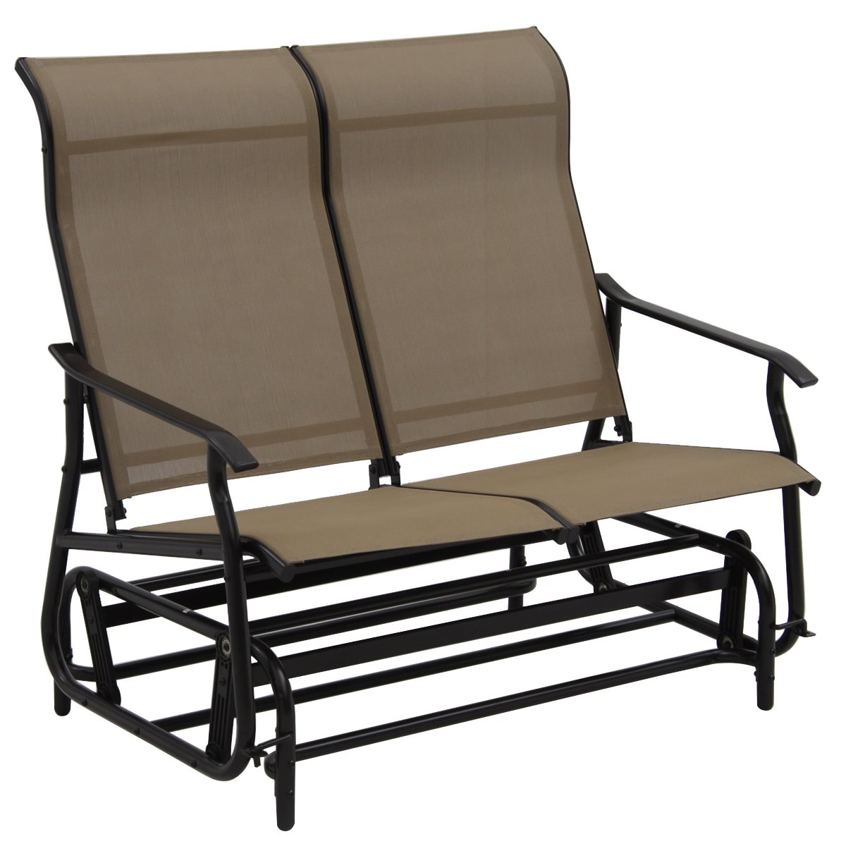 Outdoor Fabric Glider Benches Pertaining To Most Up To Date Giantex Glider Bench Outdoor 2 Person Loveseat Chair Loveseat Armchair Garden Bench Chair (light Brown) (View 4 of 30)