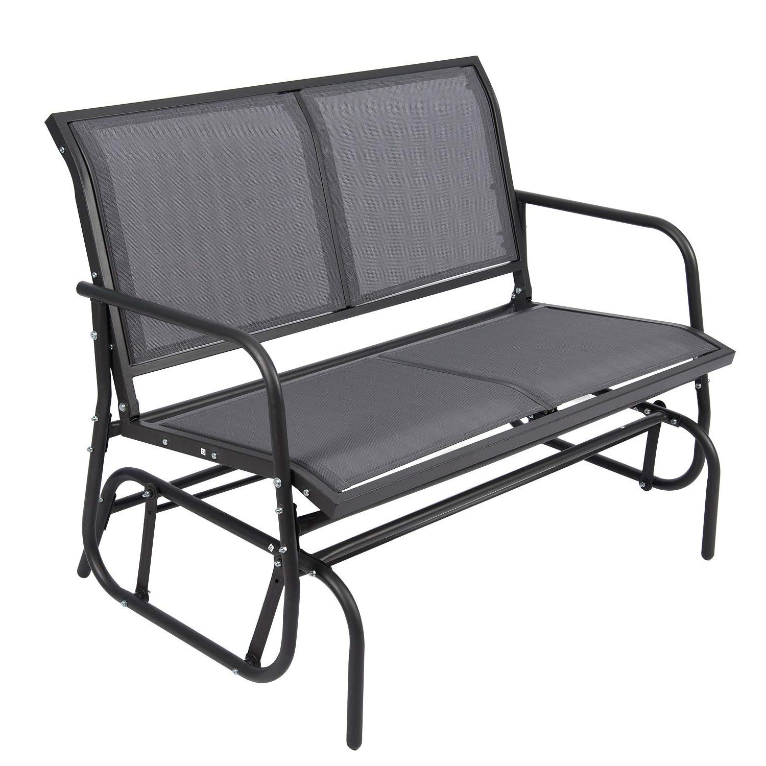 Outdoor Glider Chair For 2 Person, Patio Swing Garden Loveseat, Rocking Seating Textilene & Stable Steel Frame (dark Grey) Regarding Most Up To Date Rocking Love Seats Glider Swing Benches With Sturdy Frame (Gallery 13 of 30)