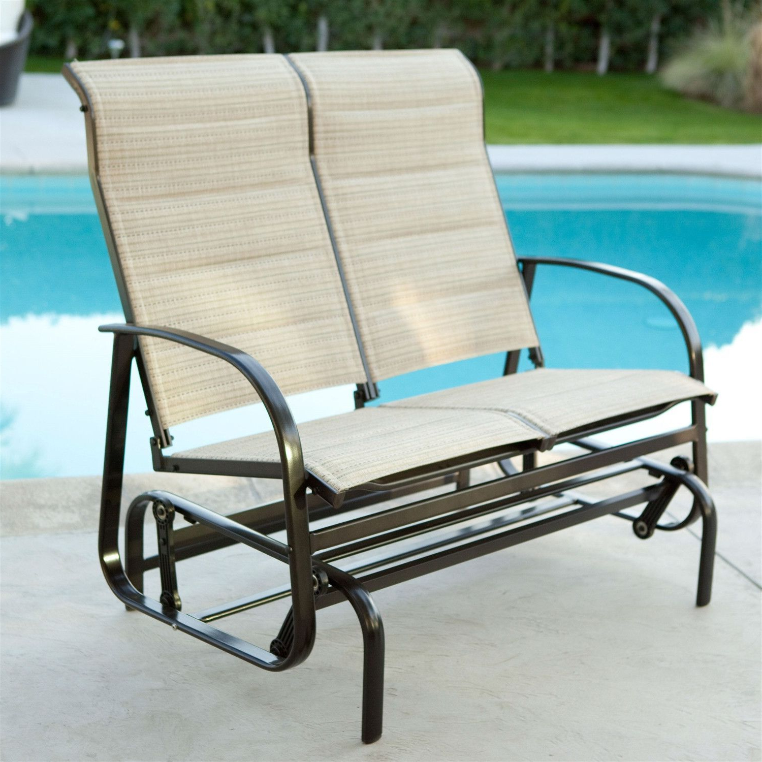 Outdoor Glider Patio Chair Loveseat With Padded Sling Seats With Regard To Current Padded Sling Double Glider Benches (View 21 of 30)