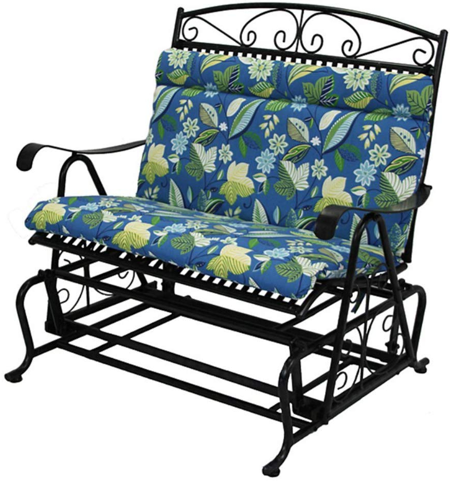 Outdoor Loveseat Glider Cushion Color: Skyworks Caribbean Cushion Only For Most Recently Released Cushioned Glider Benches With Cushions (Gallery 7 of 30)
