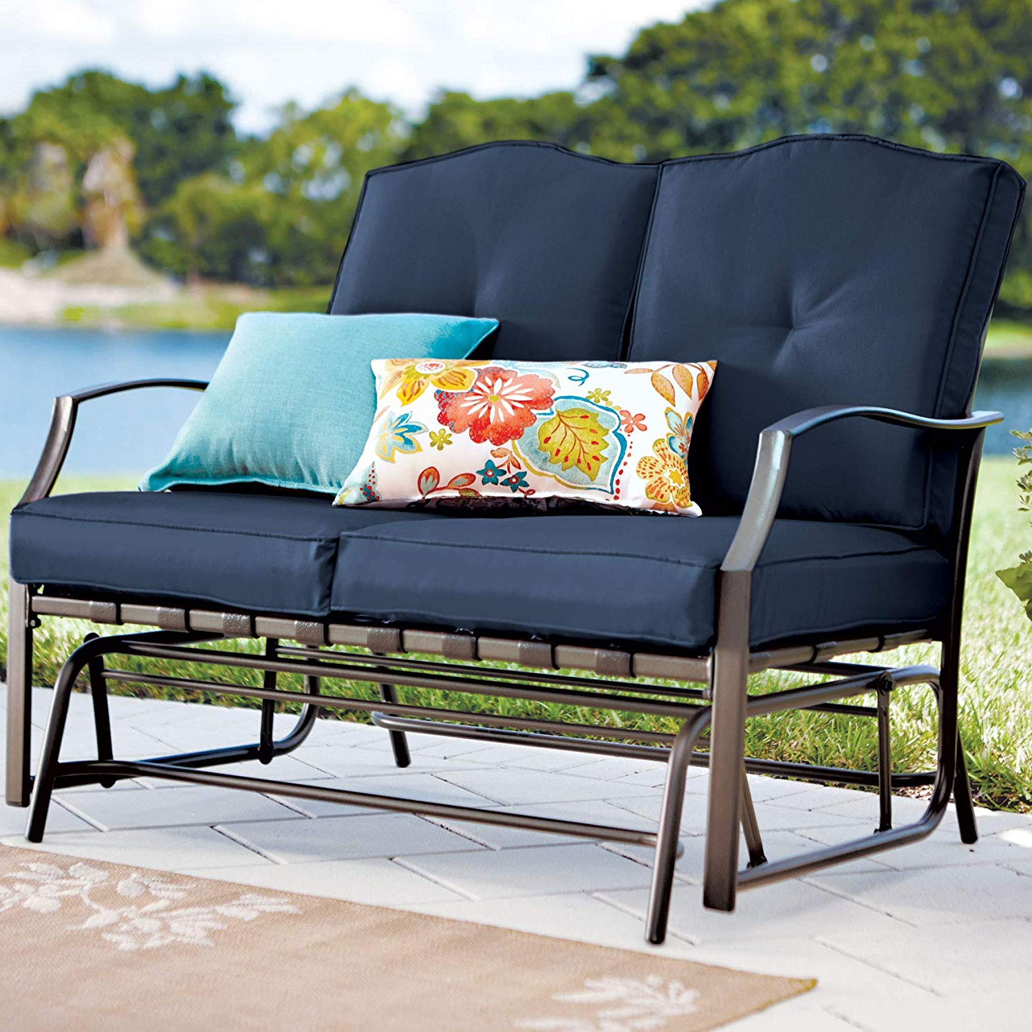 Outdoor Loveseat Gliders With Cushion With Most Recently Released Brylanehome Loveseat Glider – Geranium (Gallery 2 of 30)