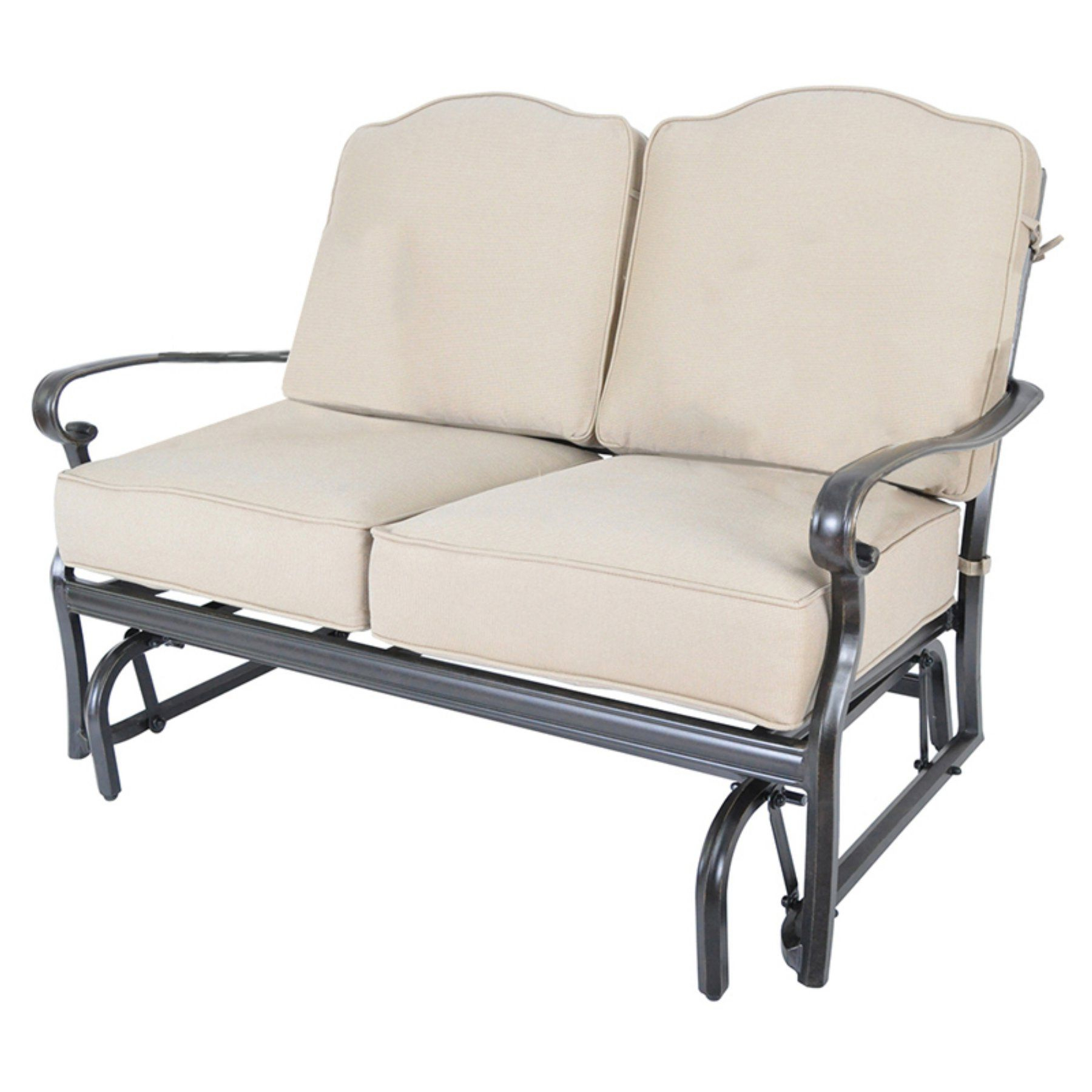 Outdoor Loveseat Gliders With Cushion With Regard To Well Known Veranda Classics Harmony Aluminum Patio Loveseat Glider (Gallery 11 of 30)