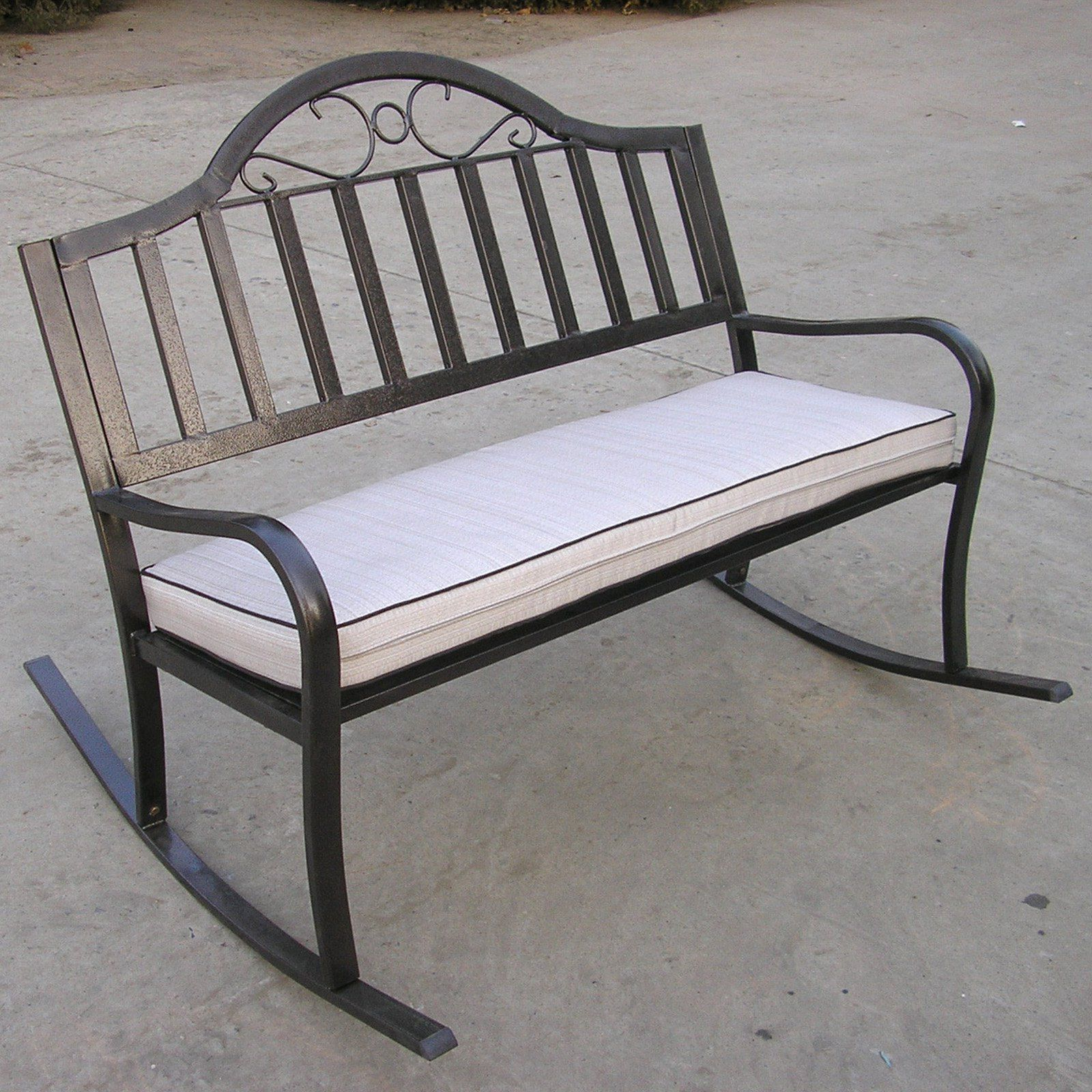 Outdoor Oakland Living Rochester 50 In. Iron Rocking Bench In Recent Rocking Benches With Cushions (Gallery 6 of 30)