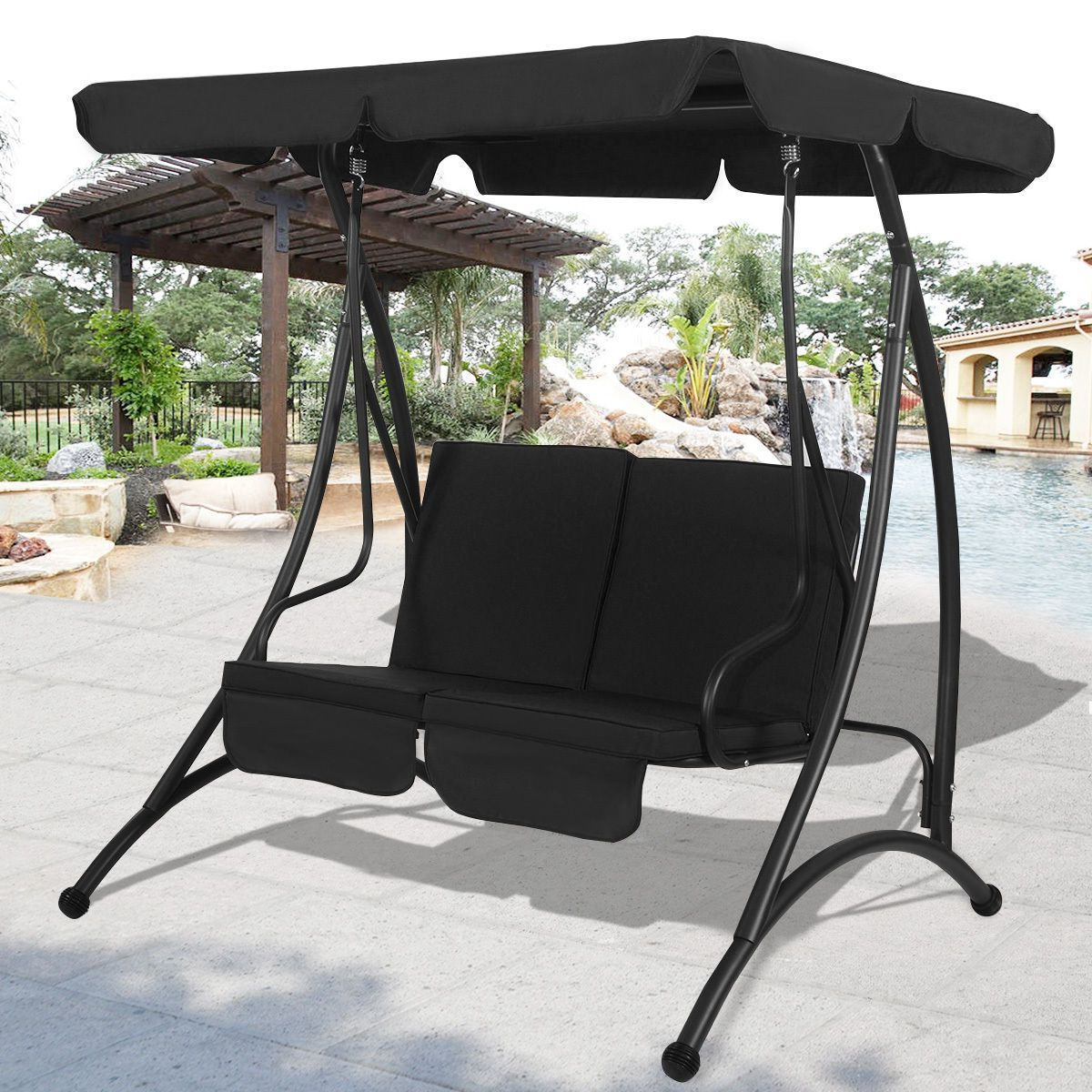 Outdoor Patio Canopy Swing Chair Metal 2 Person Garden Pertaining To Favorite 2 Person Black Steel Outdoor Swings (Gallery 1 of 30)