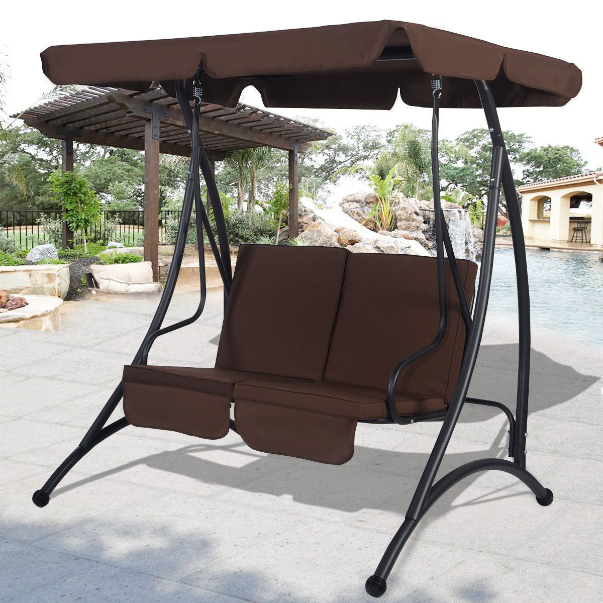 Outdoor Patio Canopy Swing Chair Metal 2 Person Hammock Throughout Fashionable Garden Leisure Outdoor Hammock Patio Canopy Rocking Chairs (View 3 of 30)