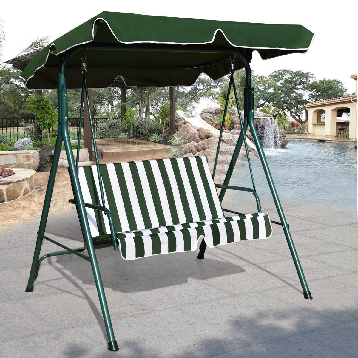 Outdoor Patio Canopy Swing Cushioned Chair Iron 2 Person Yard Furniture  Green Intended For Fashionable 2 Person Antique Black Iron Outdoor Swings (View 22 of 30)