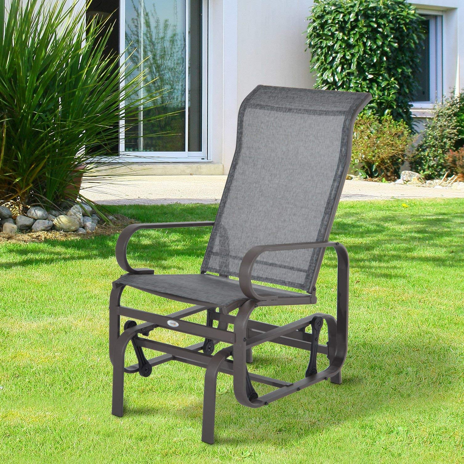 Outdoor Patio Swing Glider Bench Chair S For Popular Amazon : New Patio Porch Glider Bench Swing Sling Chair (Gallery 23 of 30)