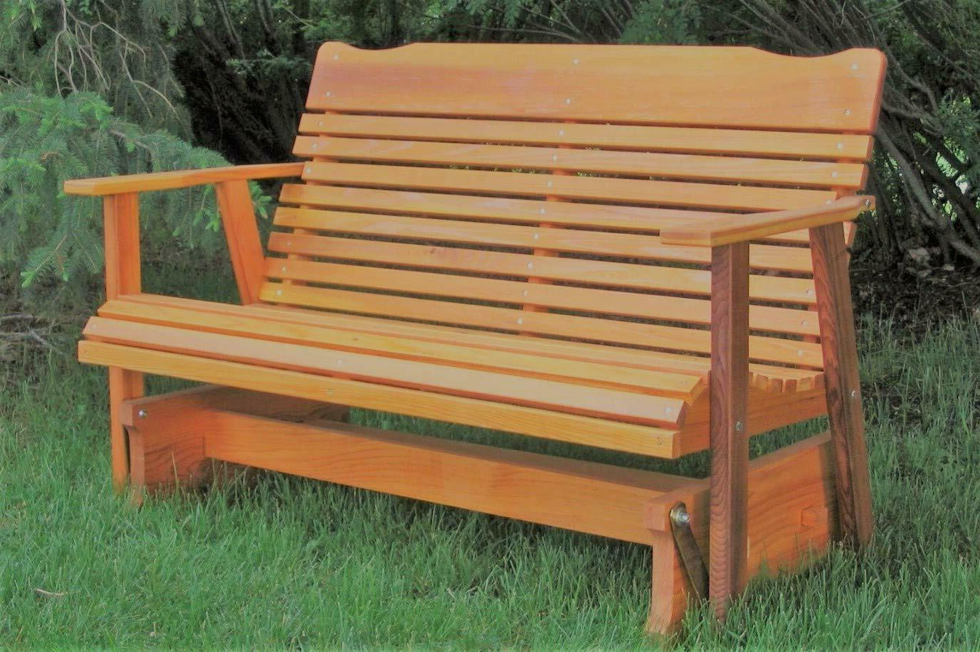 Outdoor Patio Swing Glider Bench Chair S Within Current Wood Glider Bench Outdoor Patio Furniture Garden Deck Rocker Porch Amish Crafted (Gallery 9 of 30)