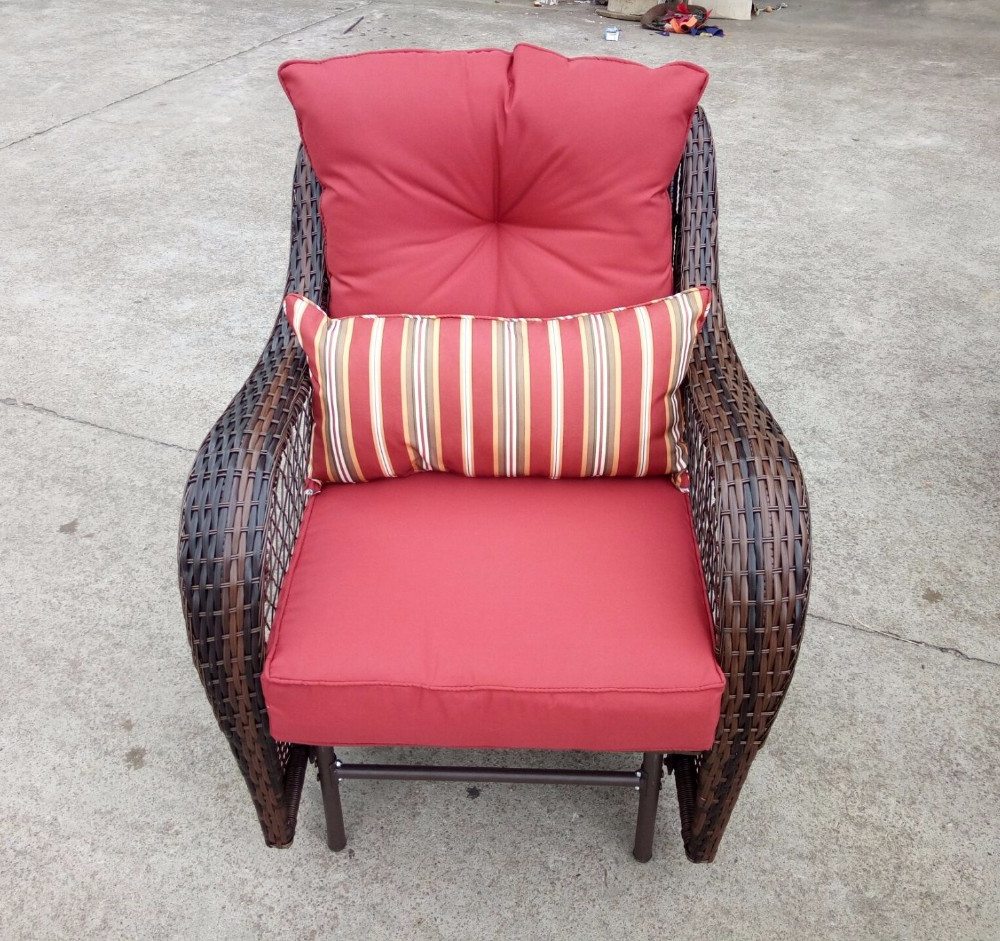 Outdoor Pe Wicker Rattan Patio Glider Chair,porch Swing Chair – Red – Buy  Glider Swing,rattan Garden Chair,rattan Recliner Chair Product On With Well Liked Wicker Glider Outdoor Porch Swings With Stand (View 19 of 30)