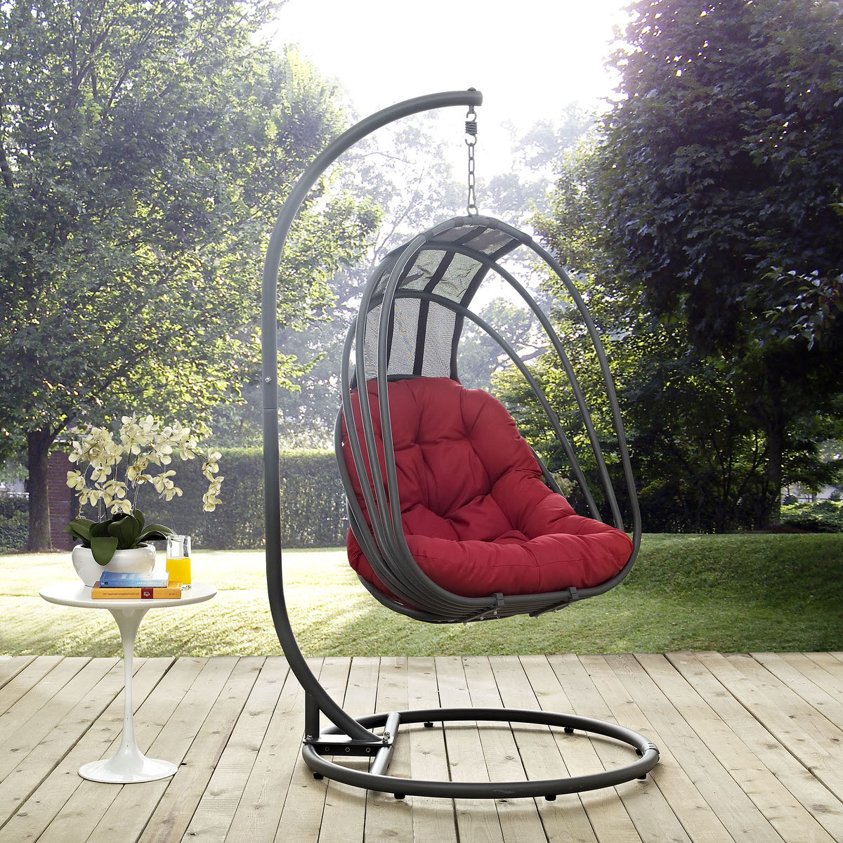Outdoor Pvc Coated Polyester Porch Swings With Stand Inside Well Known Whisk Outdoor Patio Swing Chair With Stand Redmodern Living (View 29 of 30)