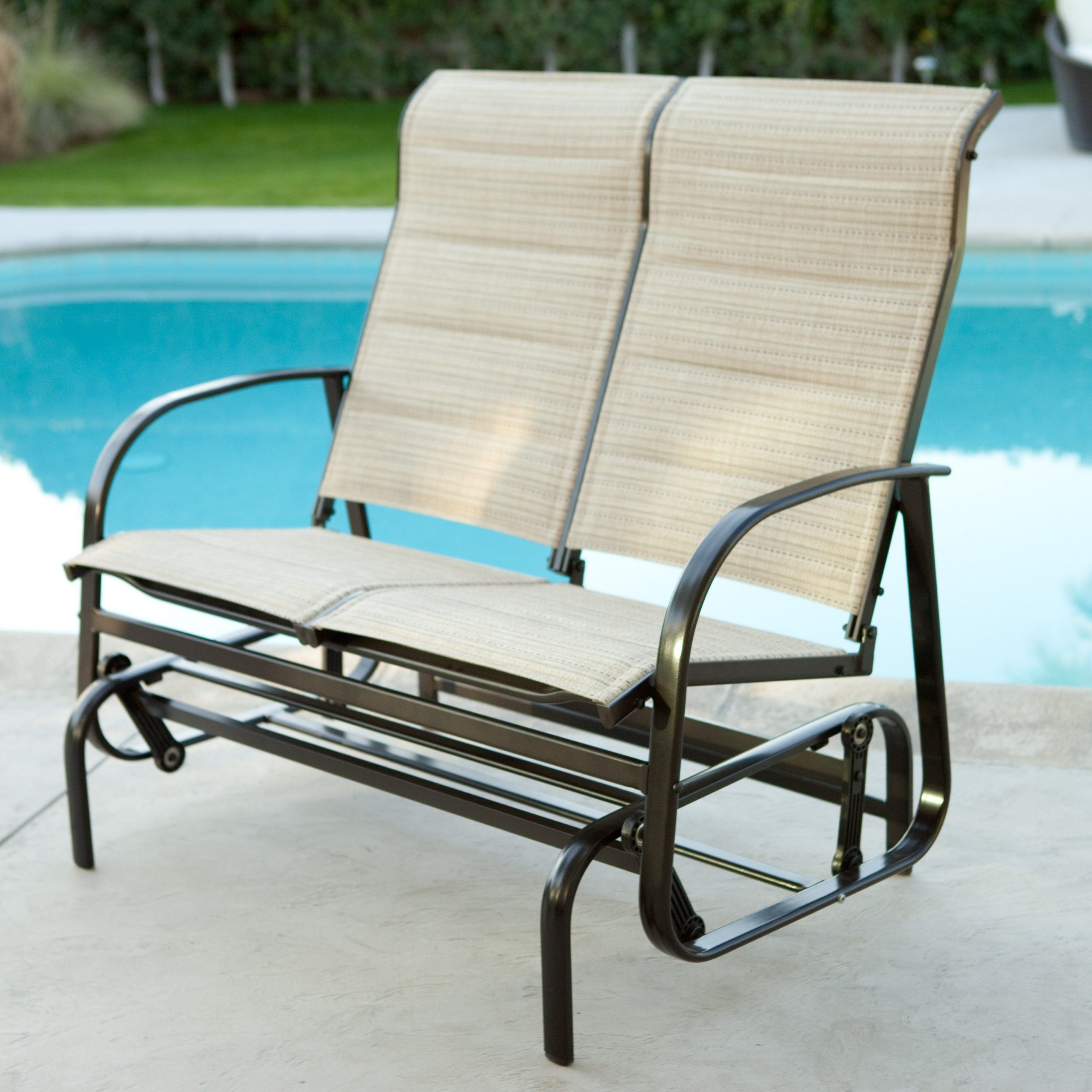 Outdoor Regarding Fashionable Padded Sling Double Glider Benches (View 13 of 30)