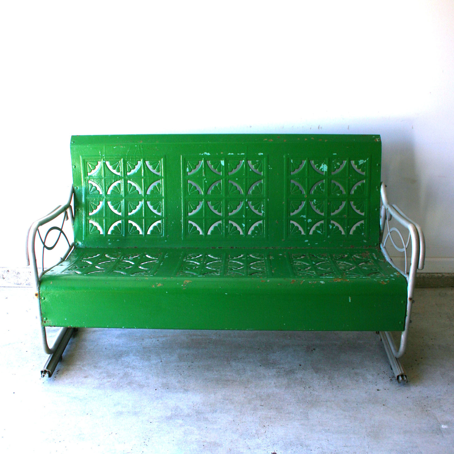 Outdoor Retro Metal Double Glider Benches Intended For Current Furniture. Cool Porch Glider For Your Outdoor Patio Ideas (Gallery 22 of 30)