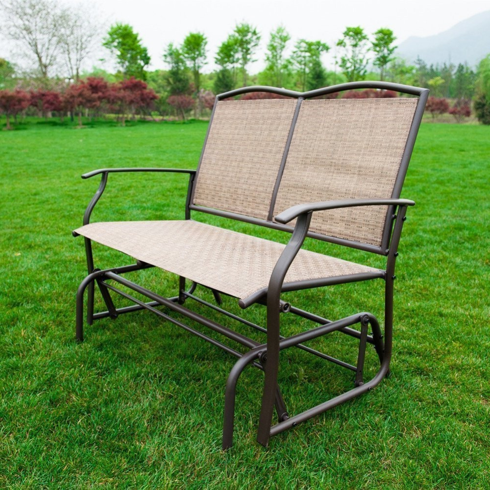 Outdoor Steel Patio Swing Glider Benches For Famous Naturefun Patio Swing Glider Bench Chair Garden Glider (Gallery 24 of 30)
