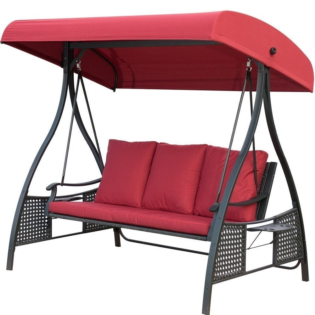 Outdoor Swing Chair, Seats 3 Porch Patio Swing Glider With Durable Steel  Frame And Padded Cushion, Red For Fashionable Black Outdoor Durable Steel Frame Patio Swing Glider Bench Chairs (View 20 of 30)