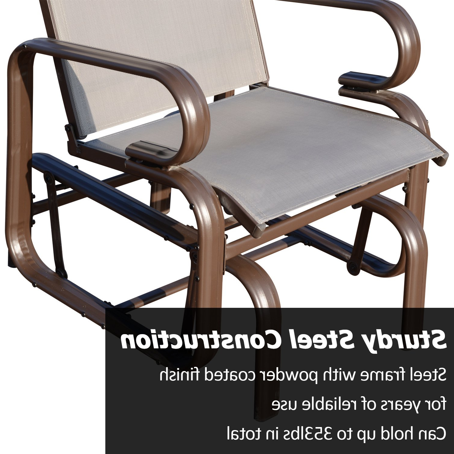 Outdoor Swing Glider Chairs With Powder Coated Steel Frame Intended For Most Popular Outsunny Glider Rocking Chair Single Seater Rocker Seat (Gallery 21 of 30)