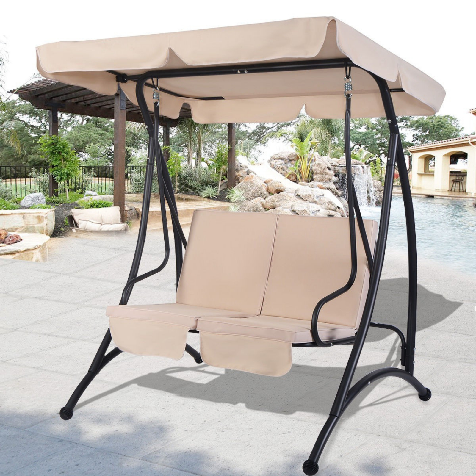Outdoor Swing With Canopy 2 Person Patio Porch Steel Swing Double Hanging Seat With Current Patio Gazebo Porch Canopy Swings (View 21 of 30)
