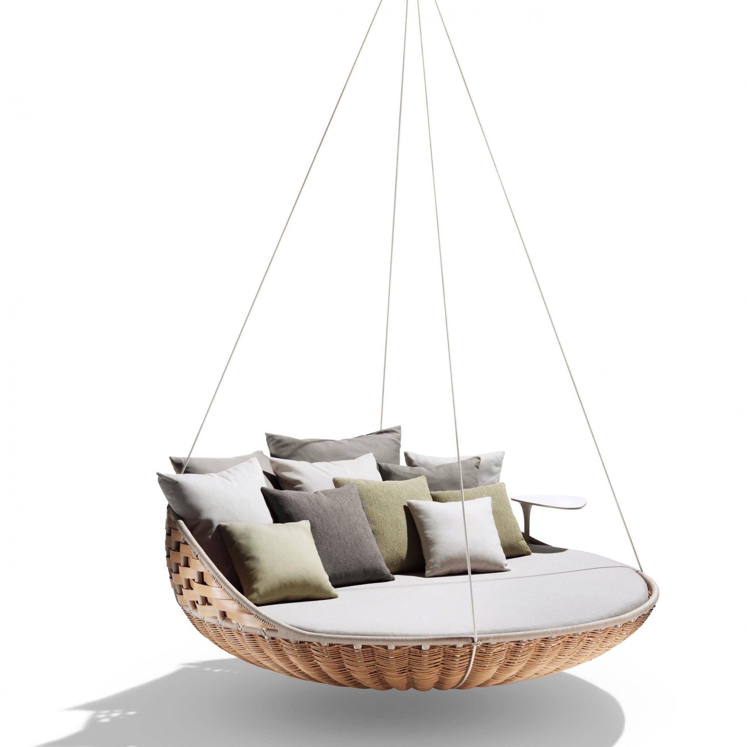 Outdoor Wicker Plastic Half Moon Leaf Shape Porch Swings Inside Well Known Dedon Swingrest Hanging Lounger Sofa (View 8 of 30)