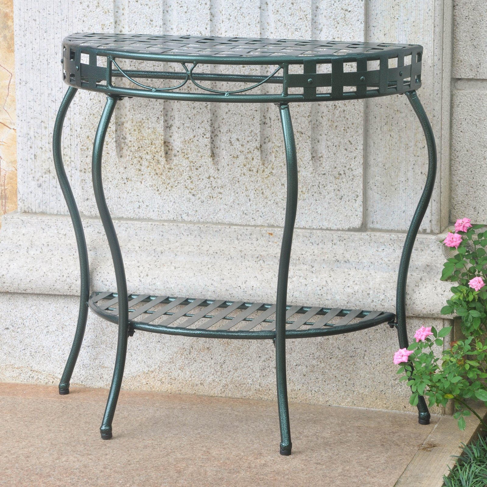 Outdoor Wicker Plastic Half Moon Leaf Shape Porch Swings With Regard To Newest International Caravan Santa Fe Iron Patio Console Table In (View 28 of 30)