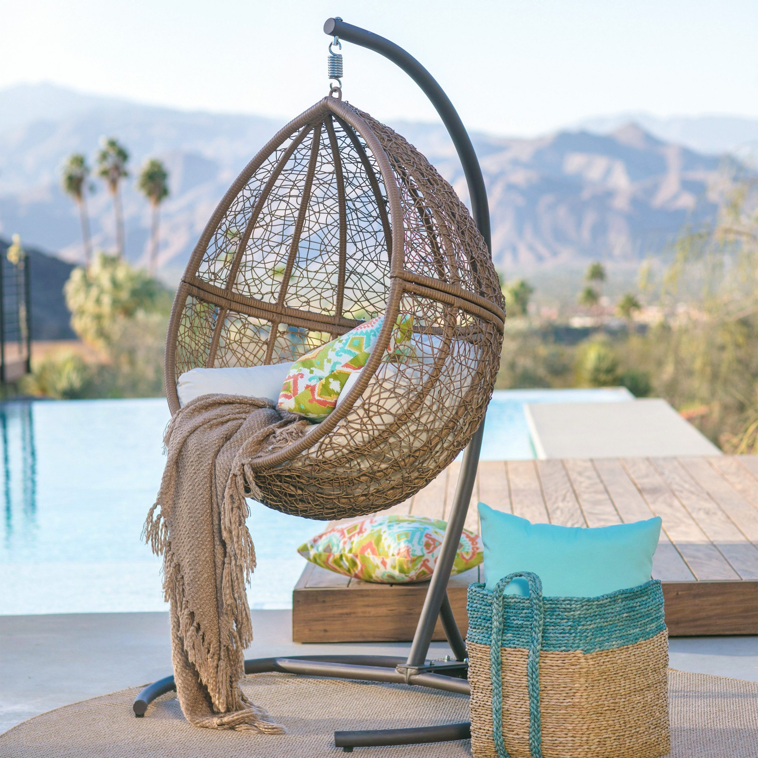 Outdoor Wicker Plastic Tear Porch Swings With Stand For 2020 Island Bay Tanna Tear Drop Resin Wicker Egg Chair With (View 16 of 30)