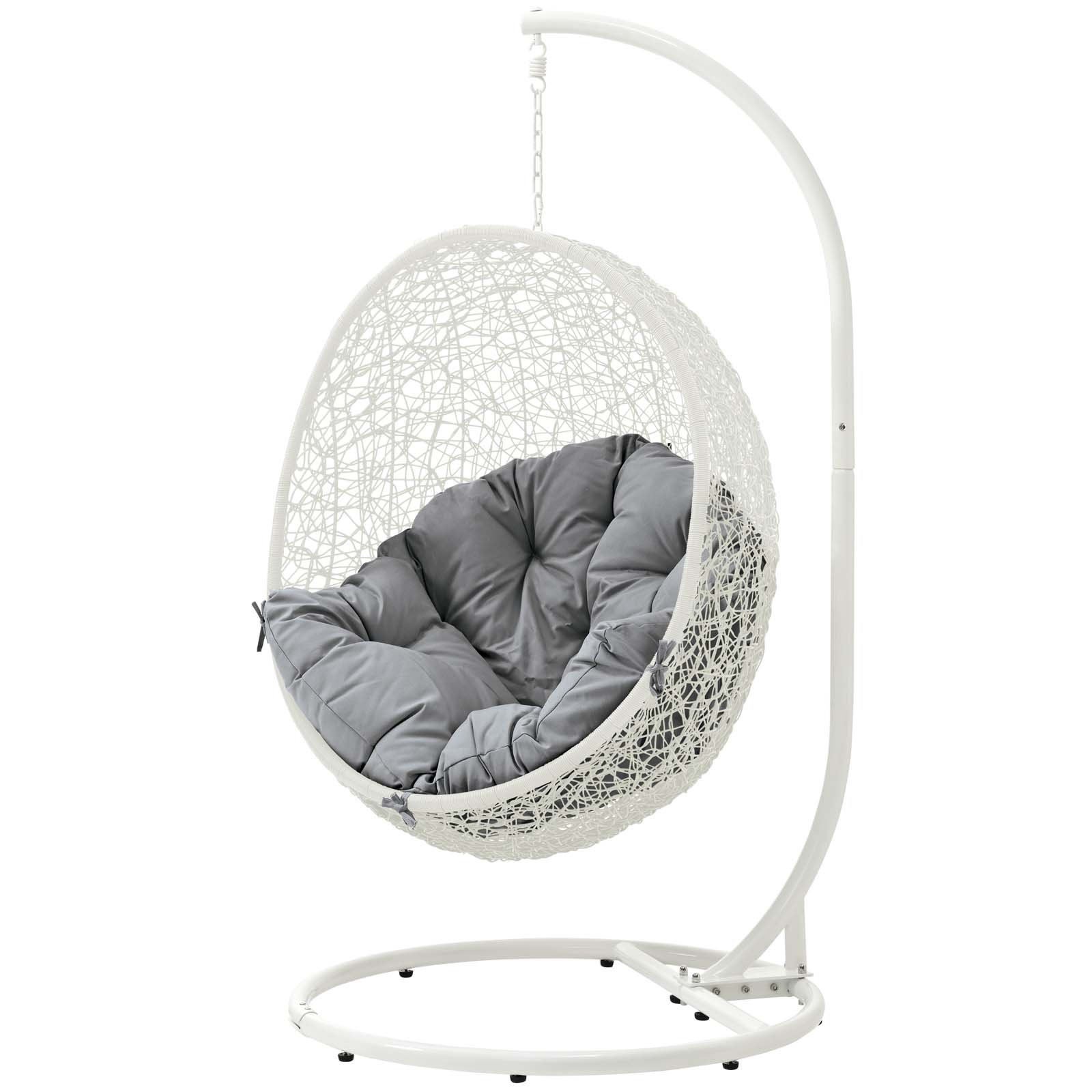 Outdoor Wicker Plastic Tear Porch Swings With Stand Pertaining To Most Up To Date Modway Eei 2273 Gry Whi Hide Wicker Outdoor Patio Swing Egg (Gallery 29 of 30)