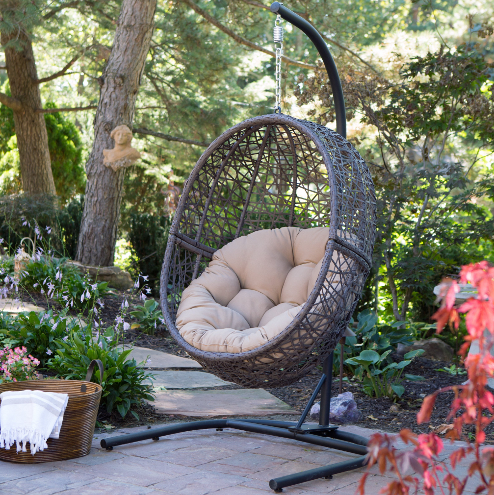 Outdoor Wicker Plastic Tear Porch Swings With Stand Throughout 2019 Hanging Egg Chair With Stand Wicker Basket Cushion Indoor Outdoor Hammock Swing (View 15 of 30)