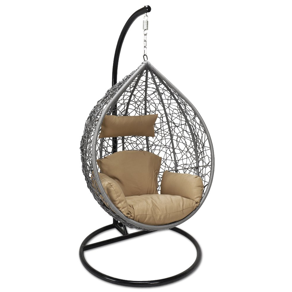 Outdoor Wicker Plastic Tear Porch Swings With Stand Throughout Best And Newest Amazon: Kresdy All Weather Resin Wicker Swing Tear Drop (Gallery 2 of 30)