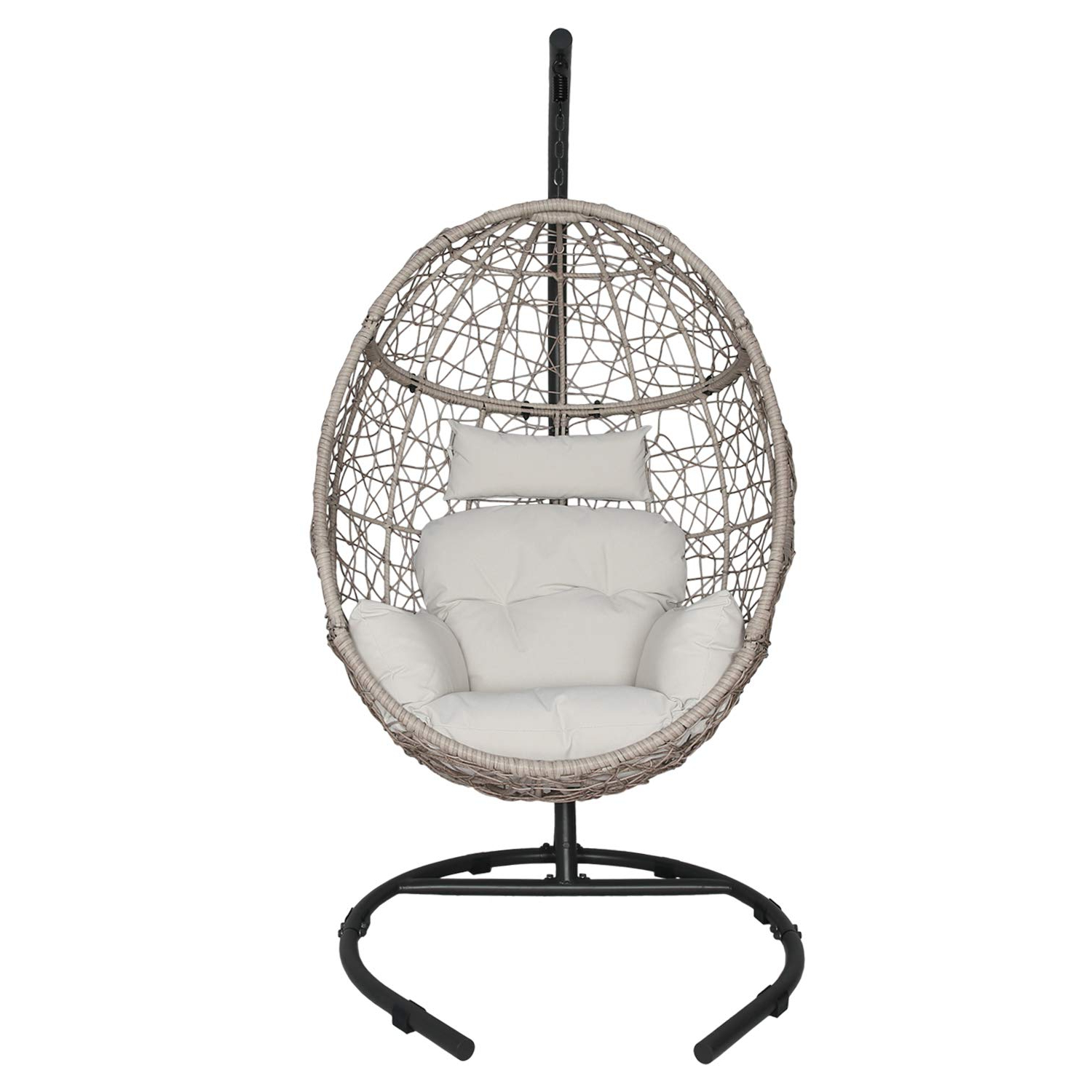 Outdoor Wicker Plastic Tear Porch Swings With Stand With Latest Ulax Furniture Outdoor Patio Wicker Hanging Basket Swing Chair Tear Drop  Egg Chair With Cushion And Stand (Beige) (Gallery 1 of 30)