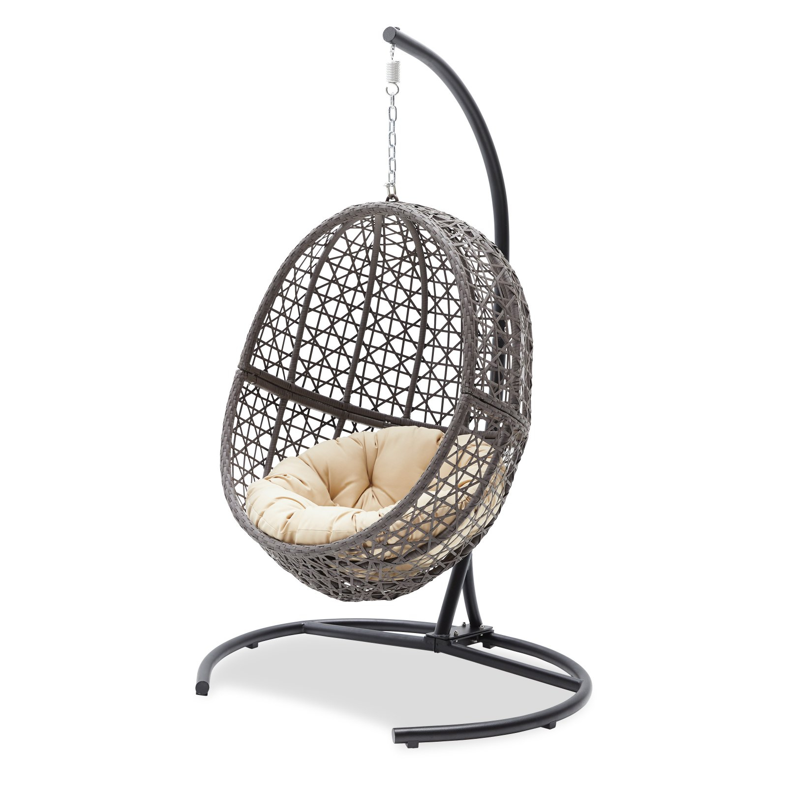 Outdoor Wicker Plastic Tear Porch Swings With Stand Within Famous Belham Living Resin Wicker Hanging Egg Chair With Cushion (Gallery 22 of 30)