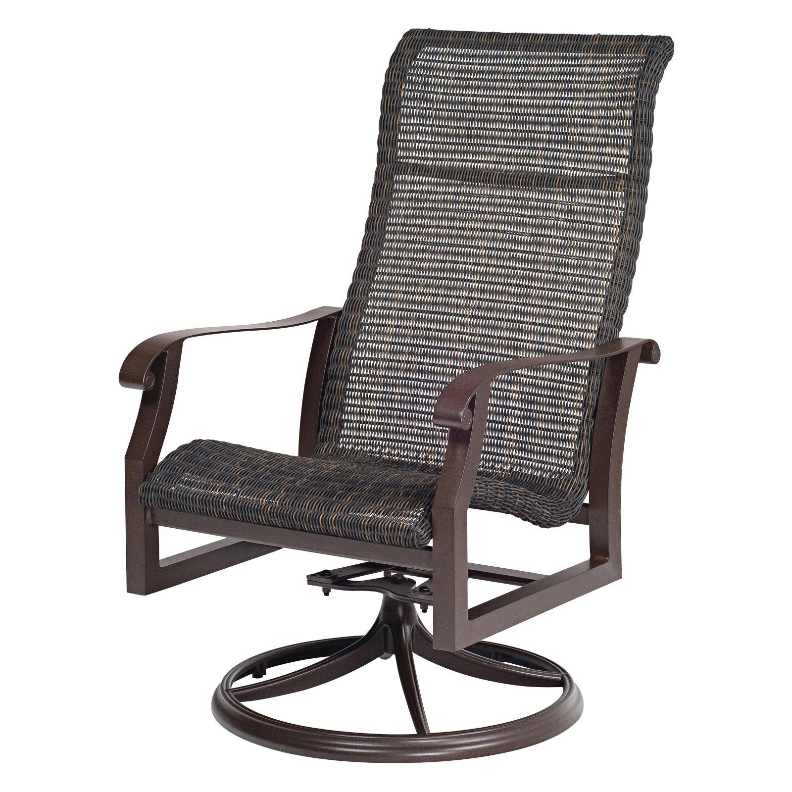 Outdoor Woodard Cortland Woven High Back Swivel Rocker In Favorite Woven High Back Swivel Chairs (Gallery 1 of 30)