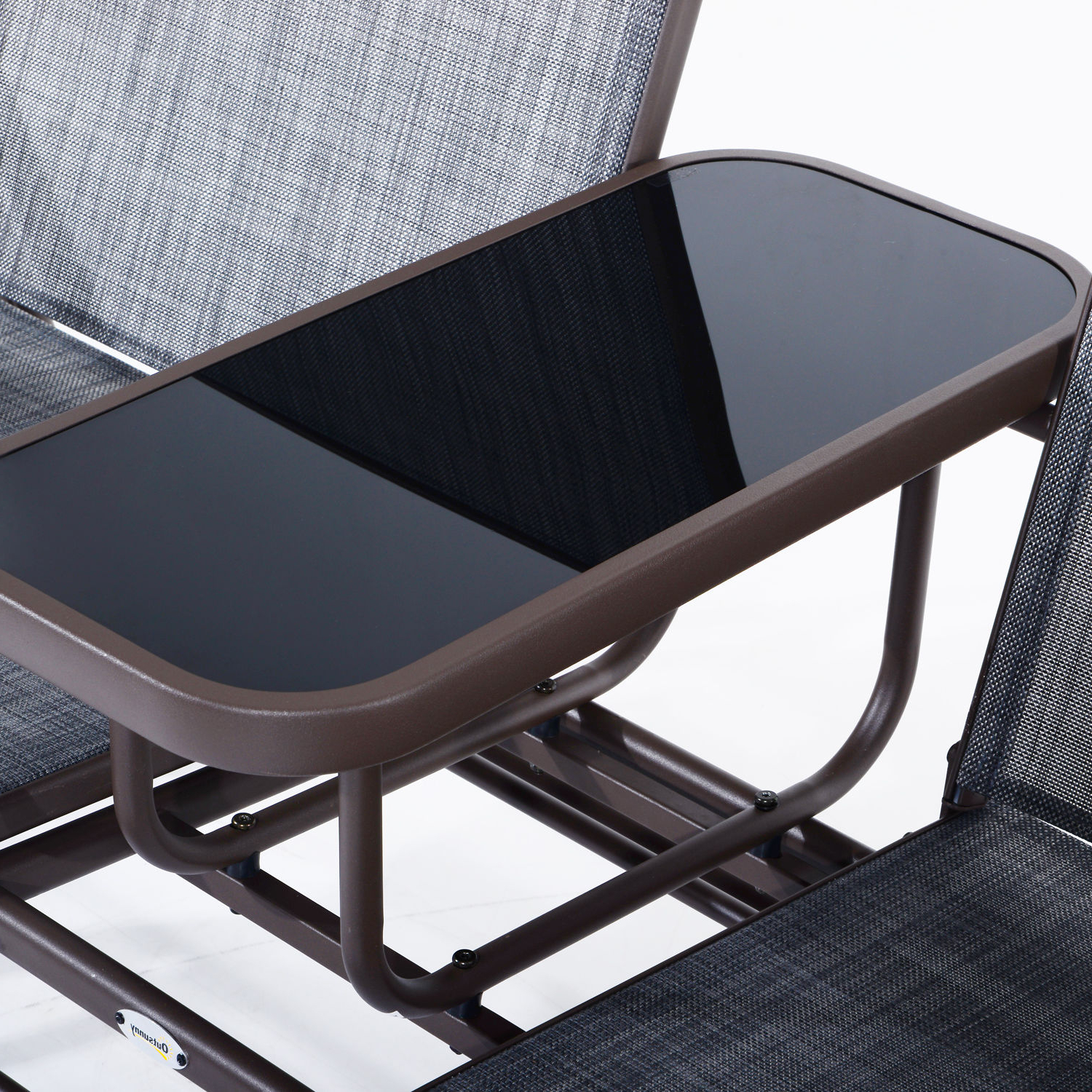 Outsunny 2 Person Outdoor Mesh Fabric Patio Double Glider Intended For 2020 Center Table Double Glider Benches (Gallery 10 of 30)