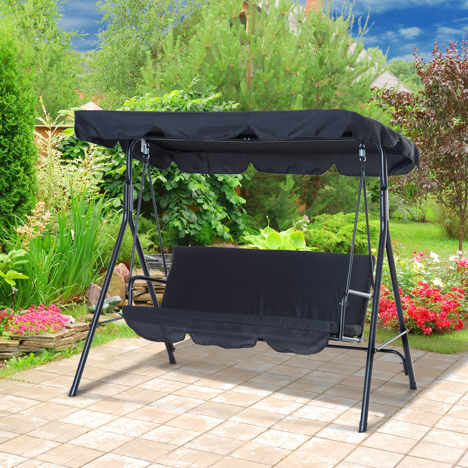 Outsunny 3 Person Steel Outdoor Porch Sling Fabric Swing Inside Well Known Outdoor Pvc Coated Polyester Porch Swings With Stand (View 22 of 30)