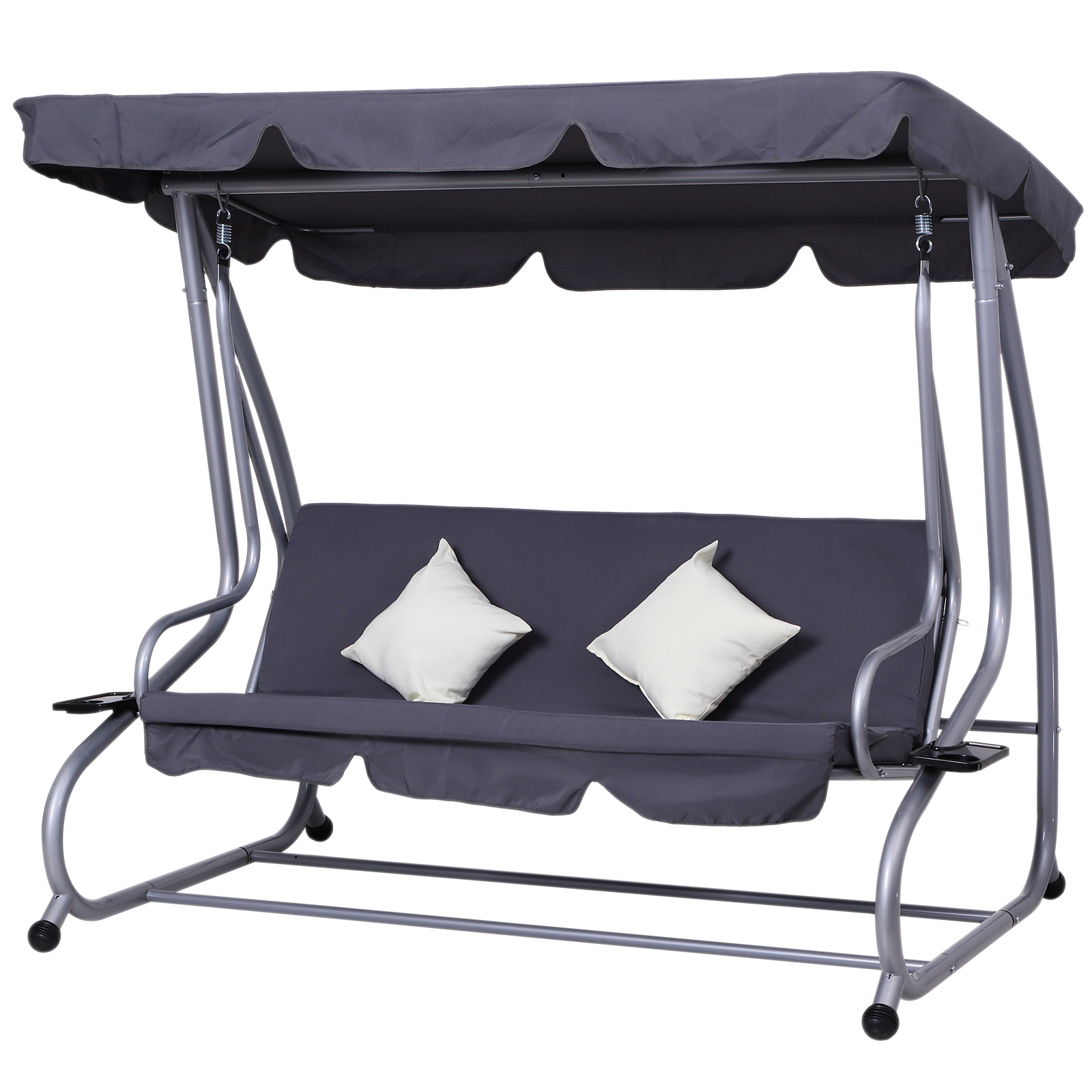 Outsunny Heavy Duty Metal 3 Seater Covered Outdoor Swing Chair Garden Hammock And Bed With Frame, Canopy And 2 Pillows (grey) Pertaining To Most Current 3 Seater Swings With Frame And Canopy (View 18 of 30)