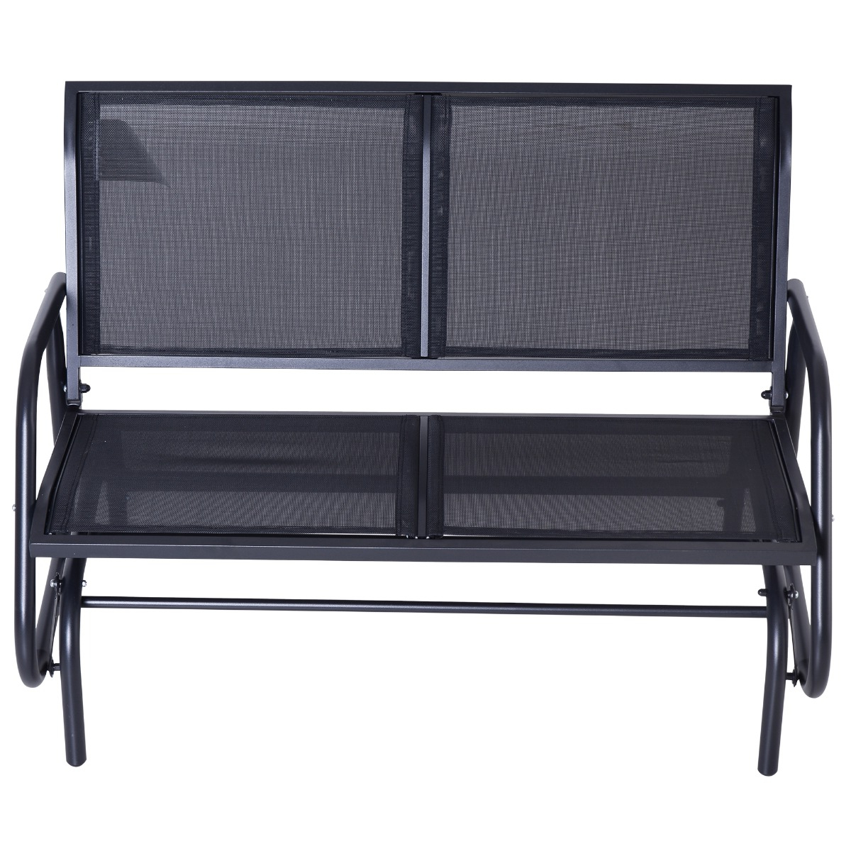 Outsunny Patio Double Glider Bench Swing Chair Rocker Heavy Duty Outdoor  Garden Black For Recent Iron Double Patio Glider Benches (Gallery 10 of 30)