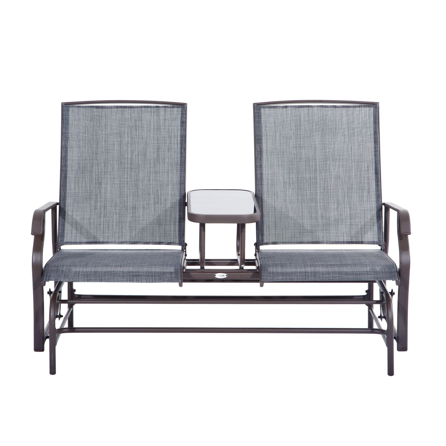Outsunny Patio Glider Rocking Chair 2 Person Outdoor Loveseat Rocker Garden  Furniture Bench Pertaining To Famous Double Glider Benches With Cushion (Gallery 22 of 30)
